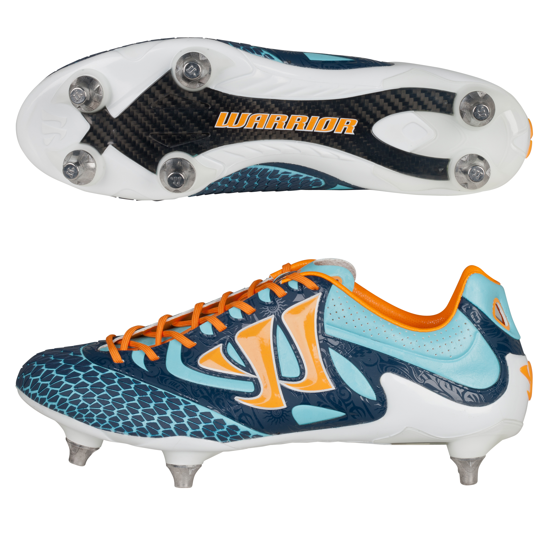 Warrior Sports Skreamer S-Lite Soft Ground Football Boots - Blue Radiance/Bright Marigold/Insignia Blue