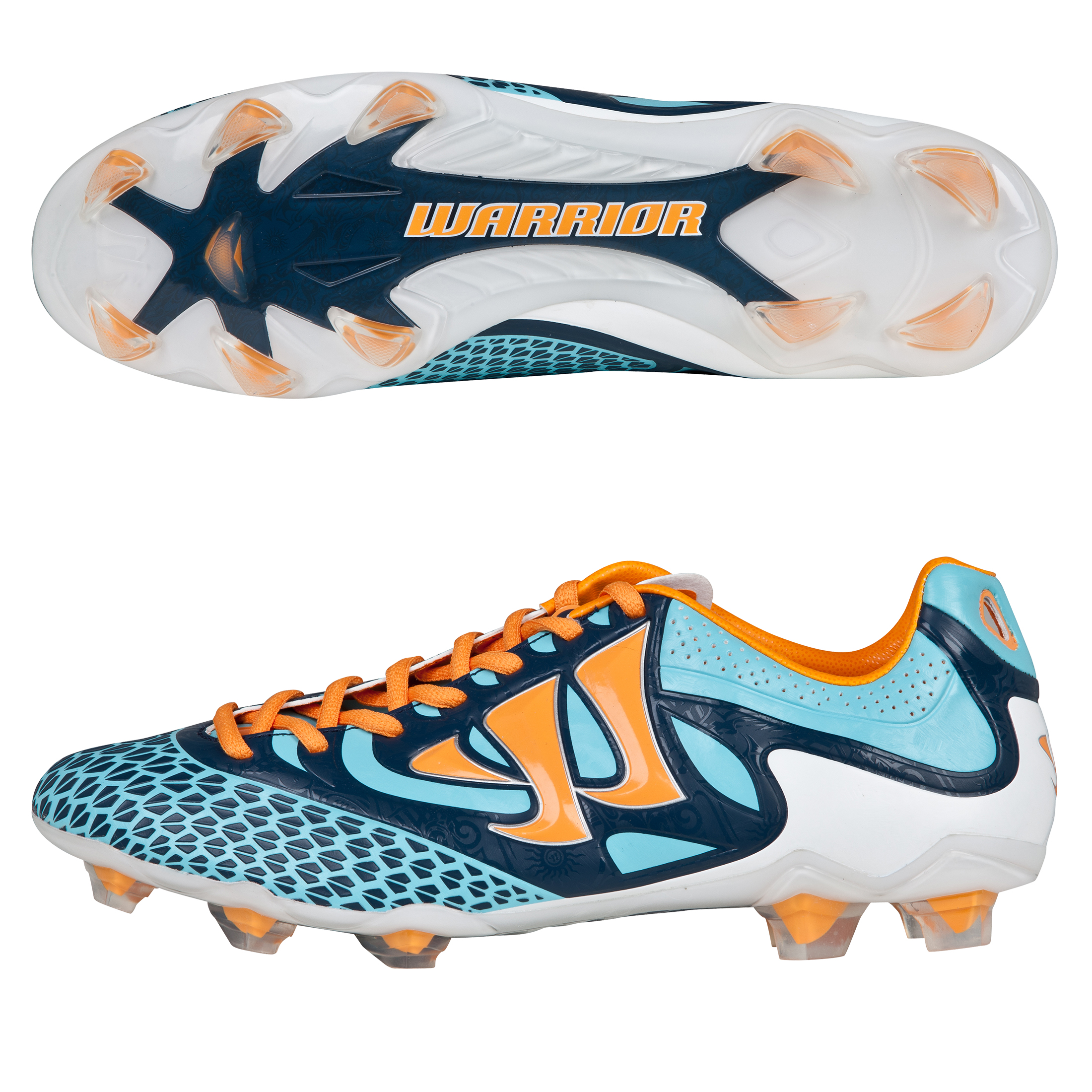 Warrior Sports Skreamer Combat Firm Ground Football Boots - Blue Radiance/Bright Marigold/Insignia Blue