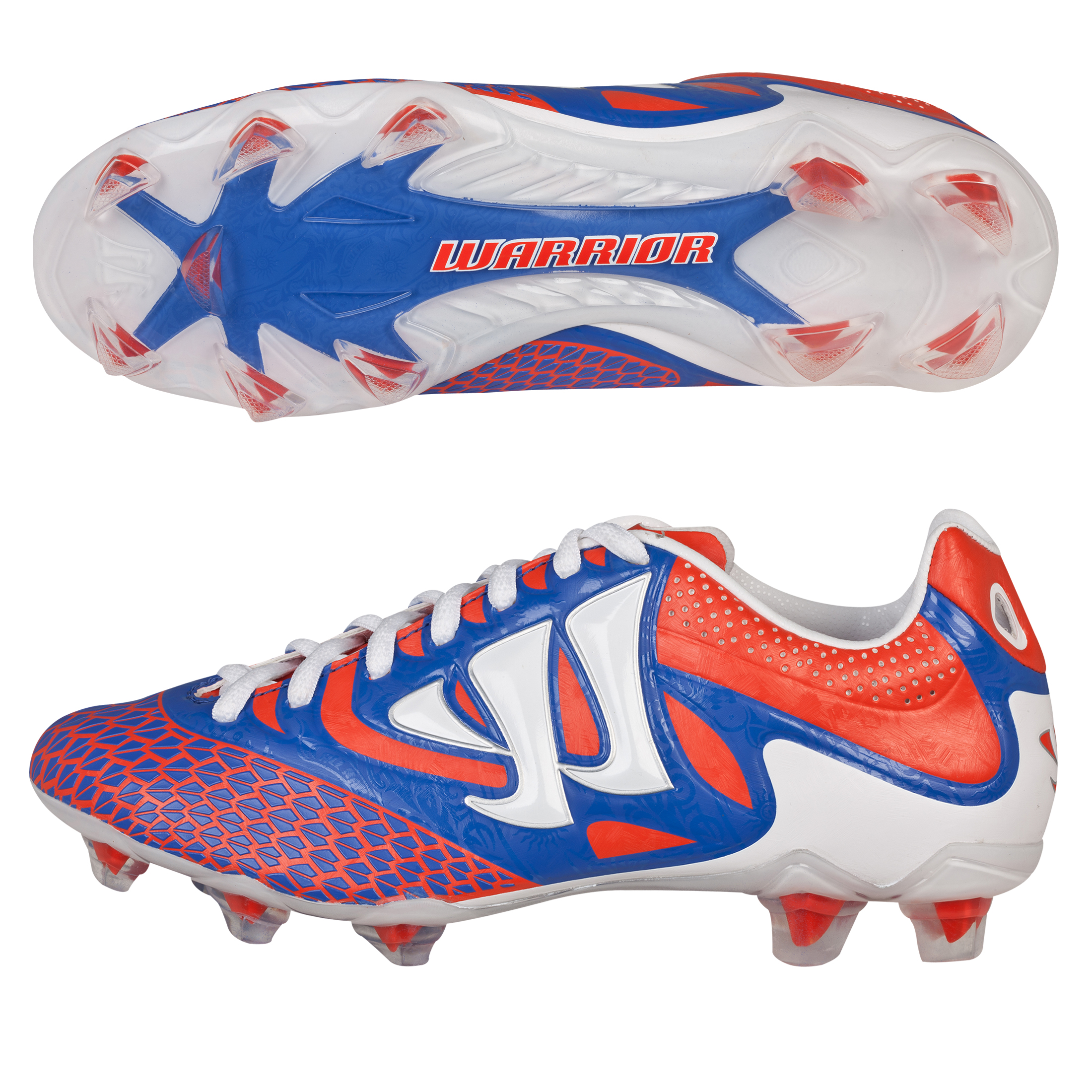 Warrior Sports Skreamer Combat Firm Ground Football Boots - Spicy Orange/Baja Blue/White