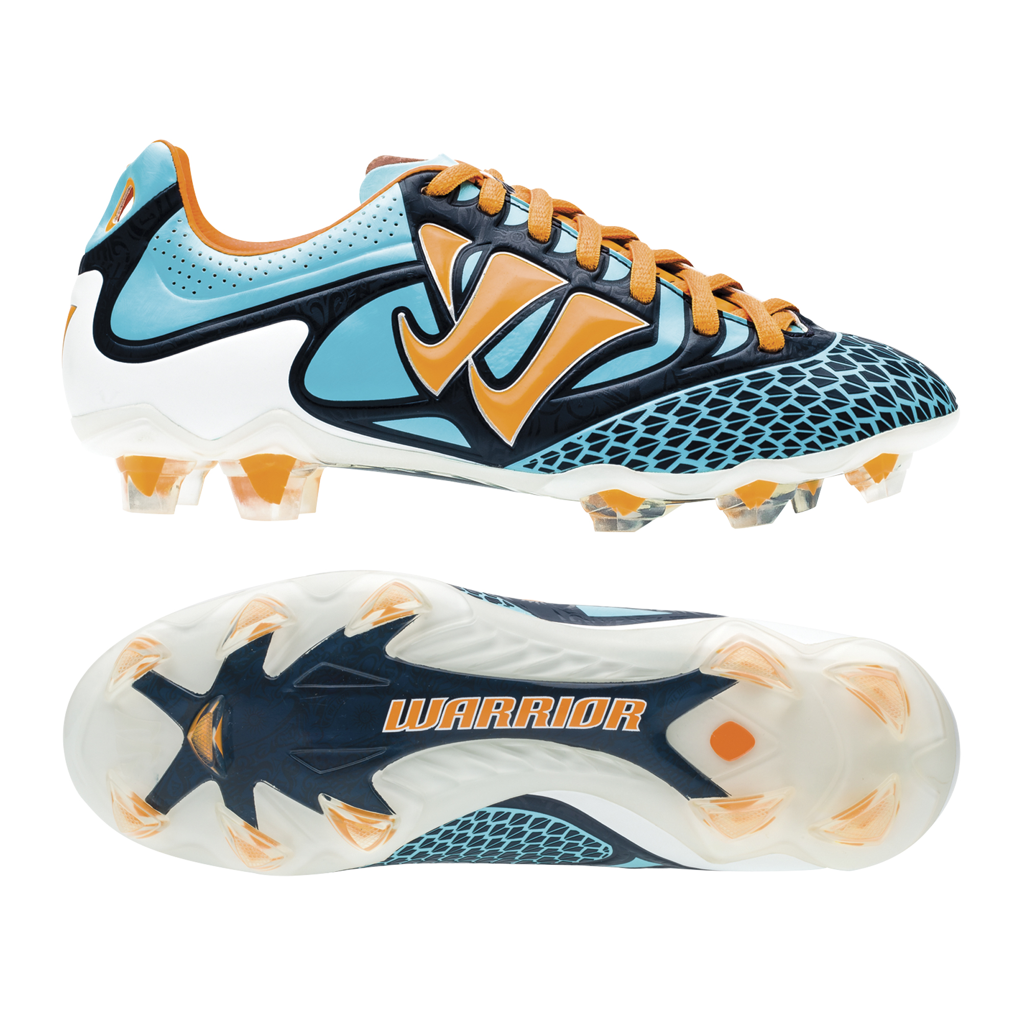 Warrior Sports Skreamer Combat Firm Ground Football Boots - Blue Radiance/Bright Marigold/Insignia Blue - Kids