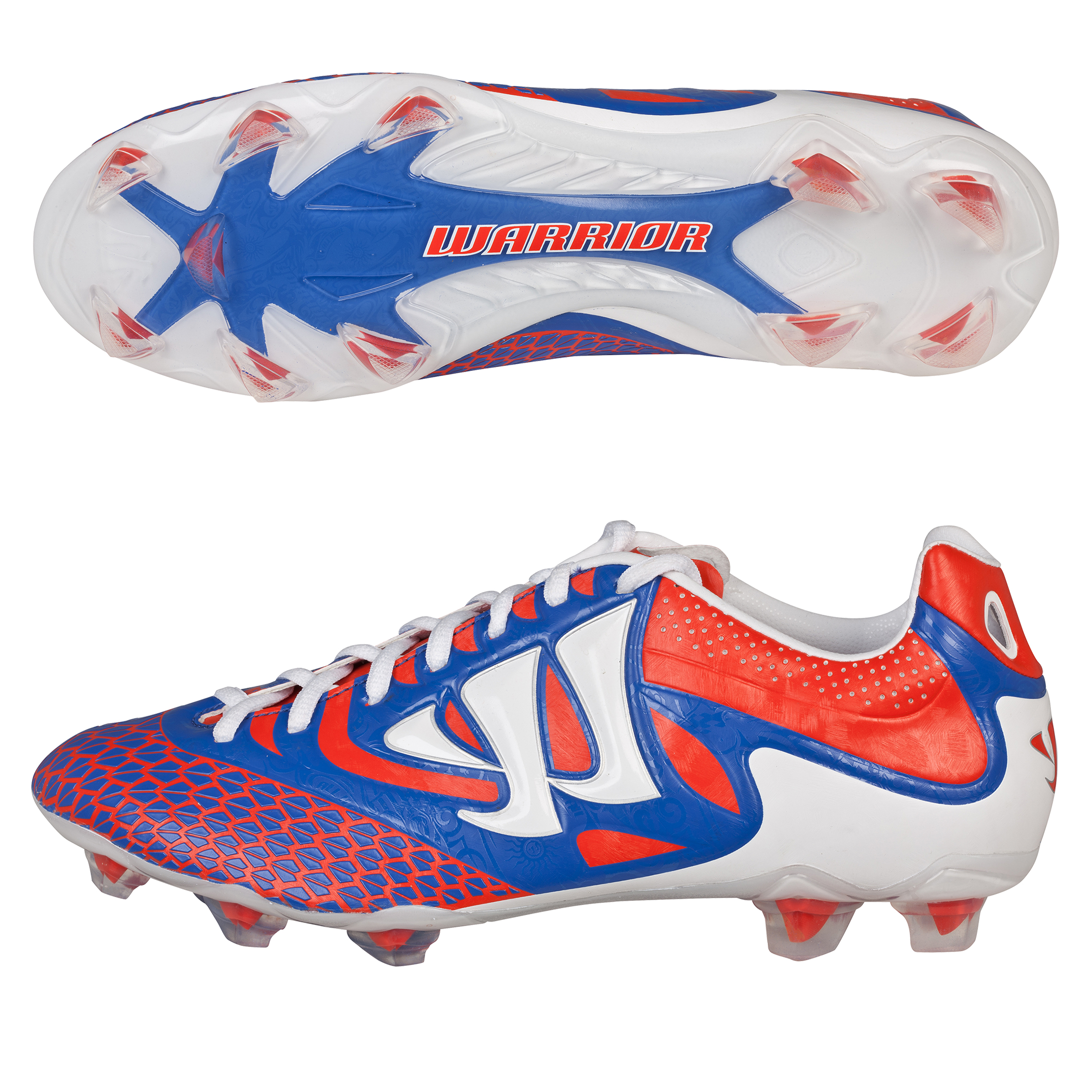 Warrior Sports Skreamer Combat Firm Ground Football Boots - Spicy Orange/Baja Blue/White - Kids