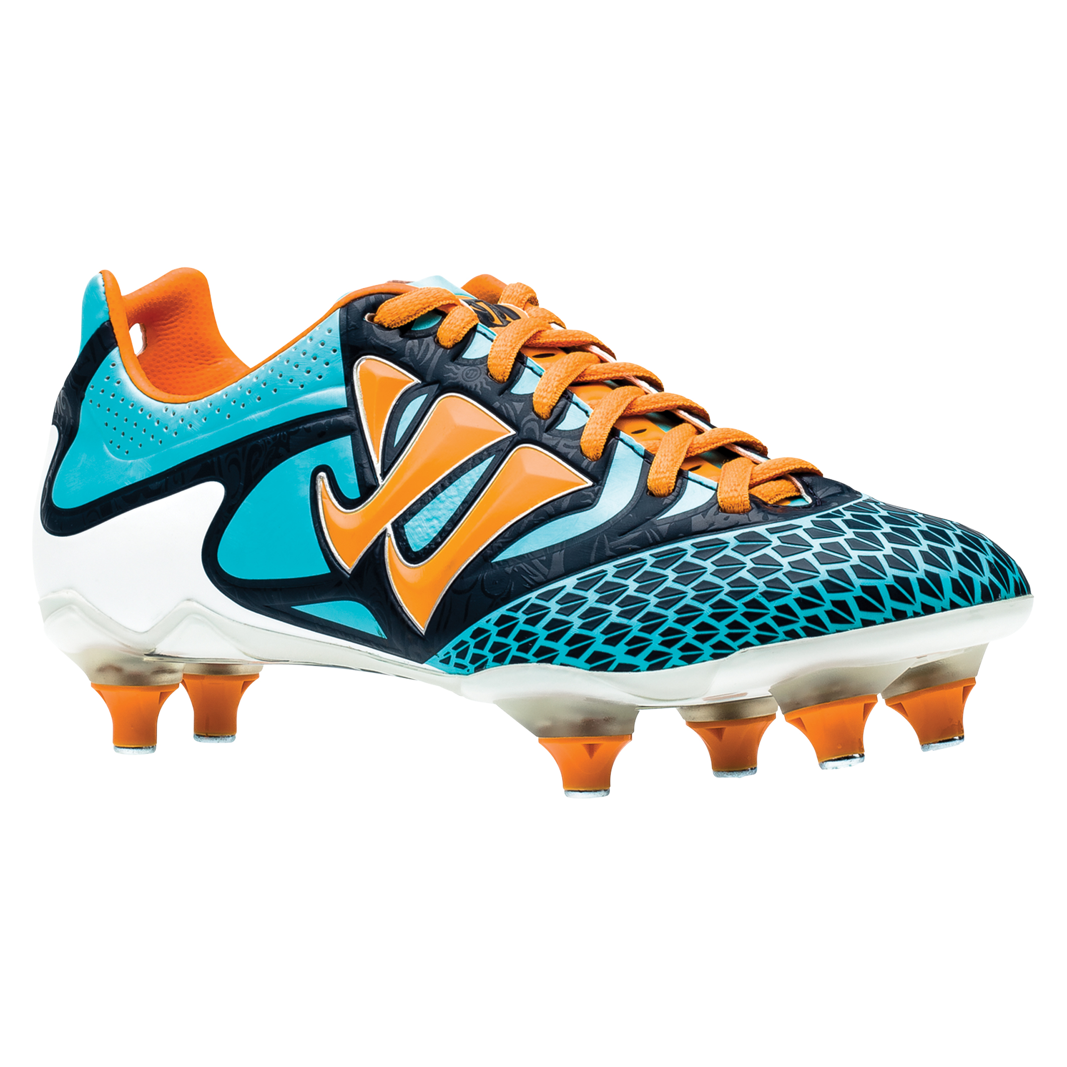 Warrior Sports Skreamer Combat Soft Ground Football Boots - Blue Radiance/Bright Marigold/Insignia Blue - Kids