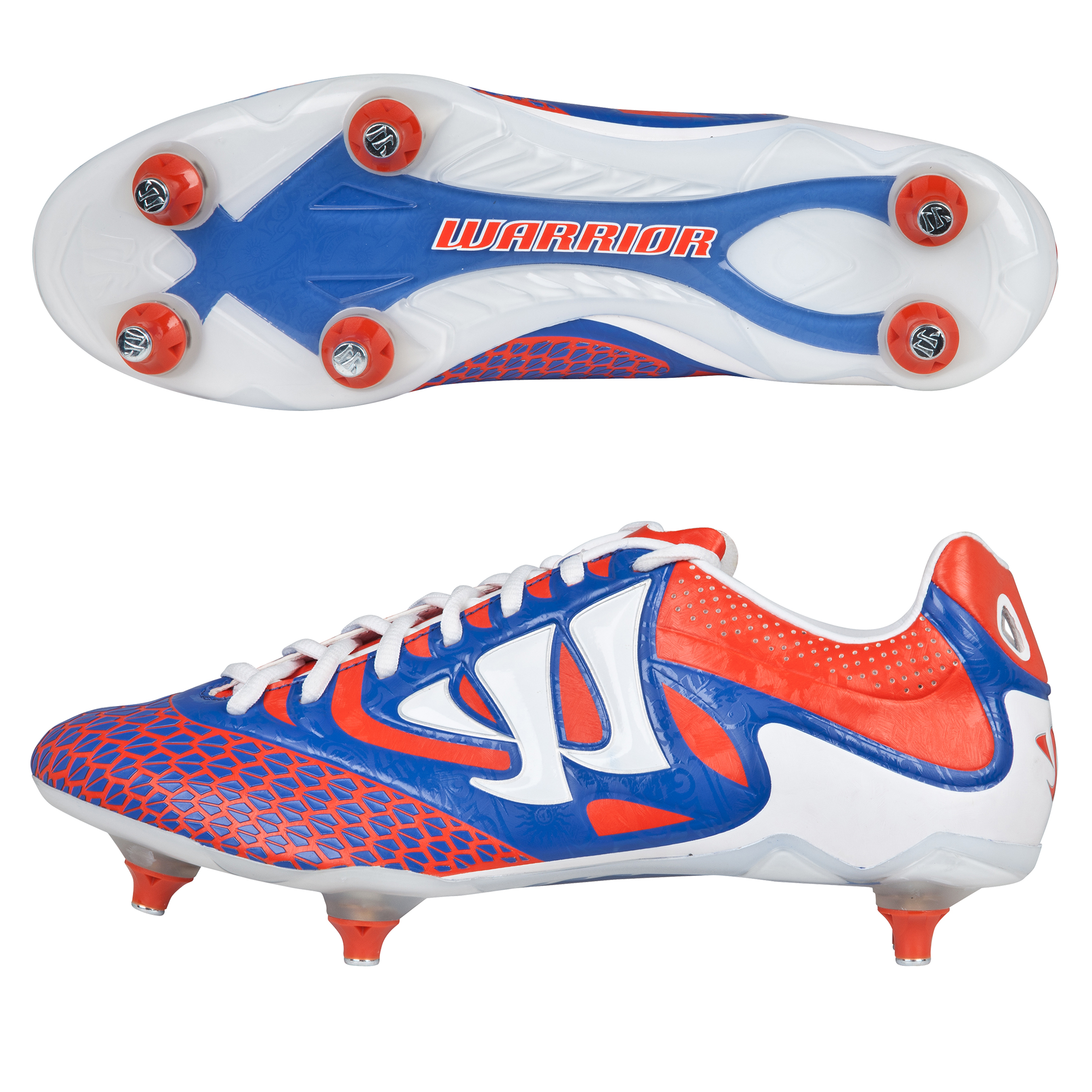 Warrior Sports Skreamer Combat Soft Ground Football Boots - Spicy Orange/Baja Blue/White - Kids