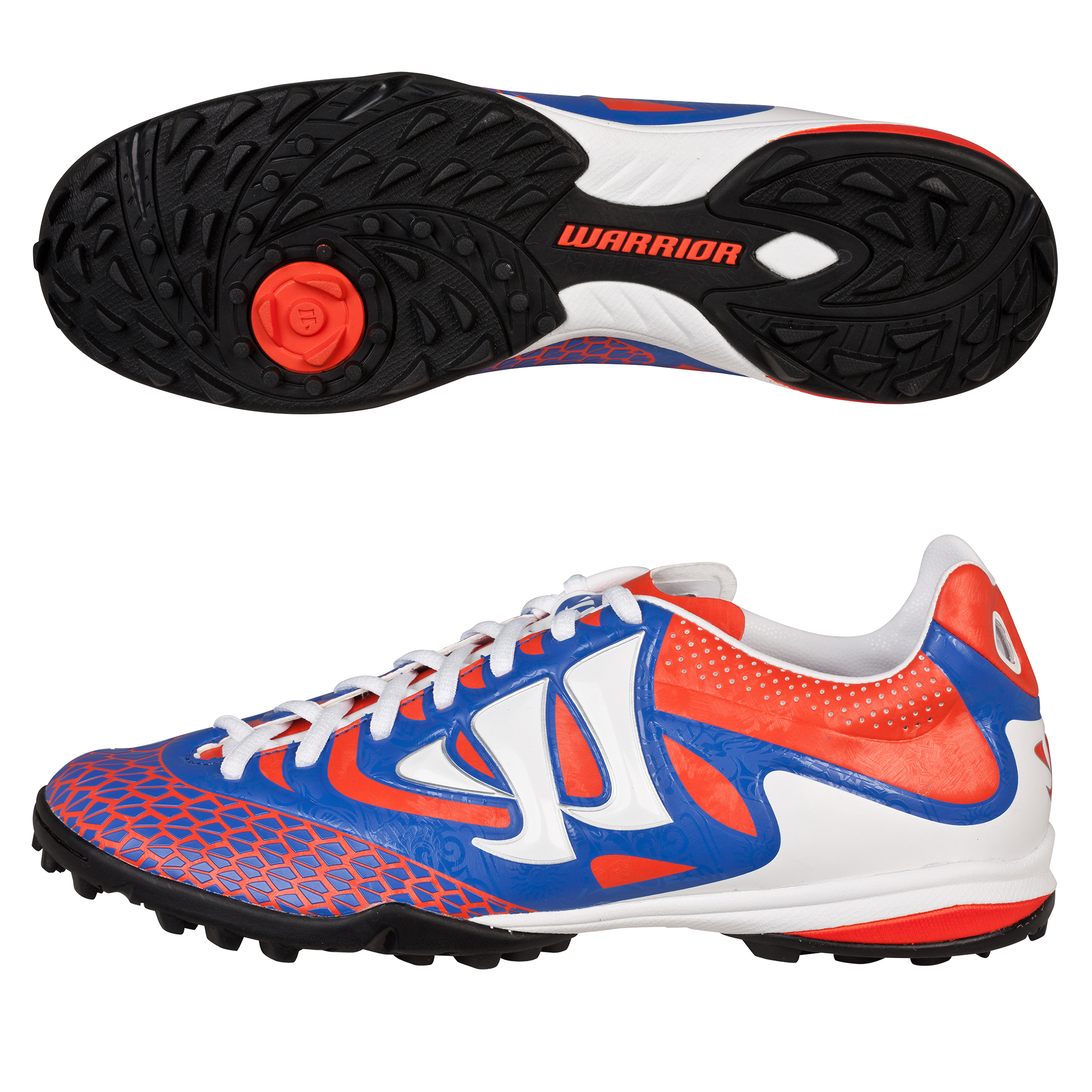 Warrior Sports Skreamer Combat Astroturf Trainers - Spicy Orange/Baja Blue/White - Kids