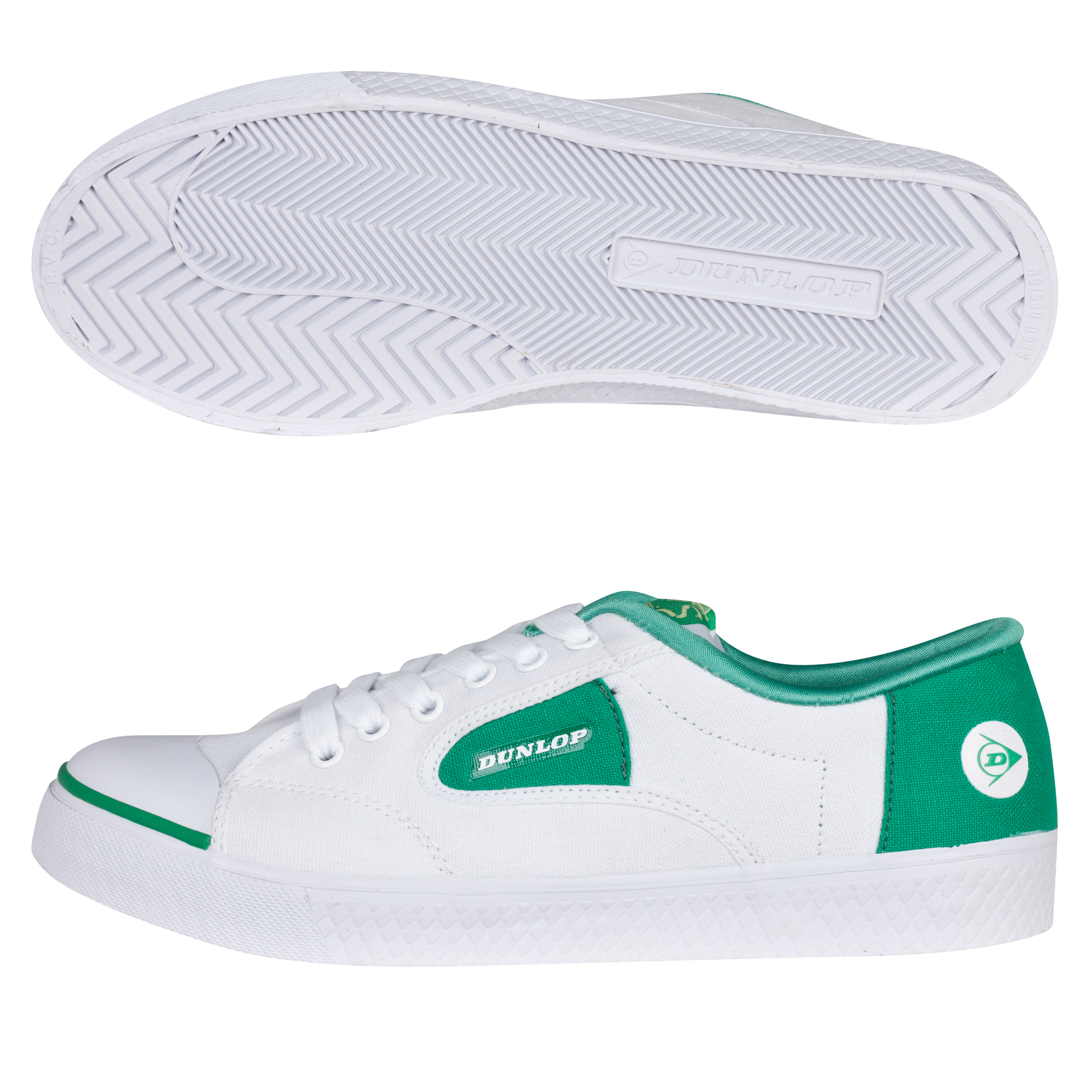 Dunlop 1555 Flash Lace Trainers - White/Green
