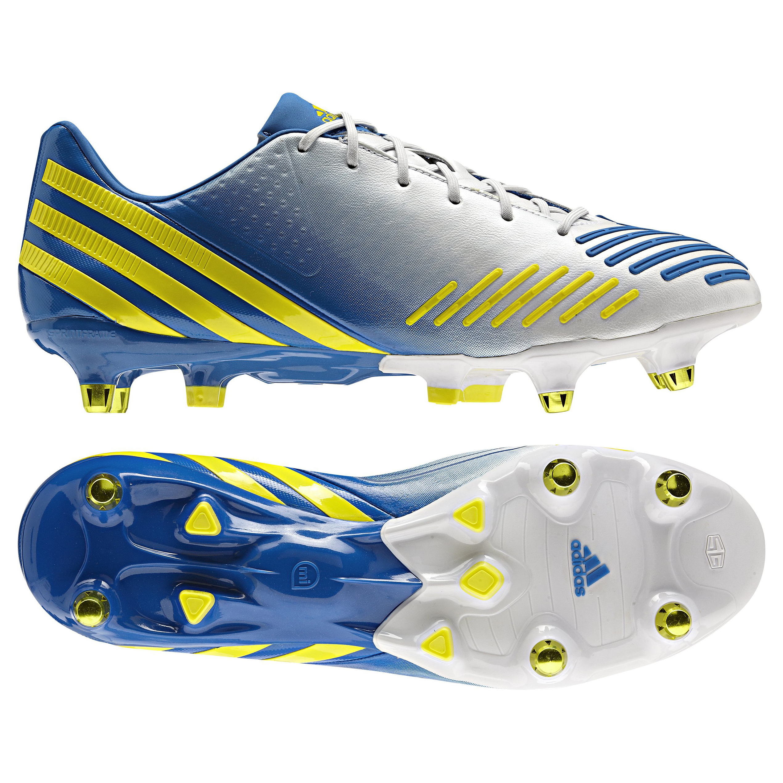 adidas Predator LZ XTRX Soft Ground Football Boots - Running White/Vivid Yellow/Prime Blue