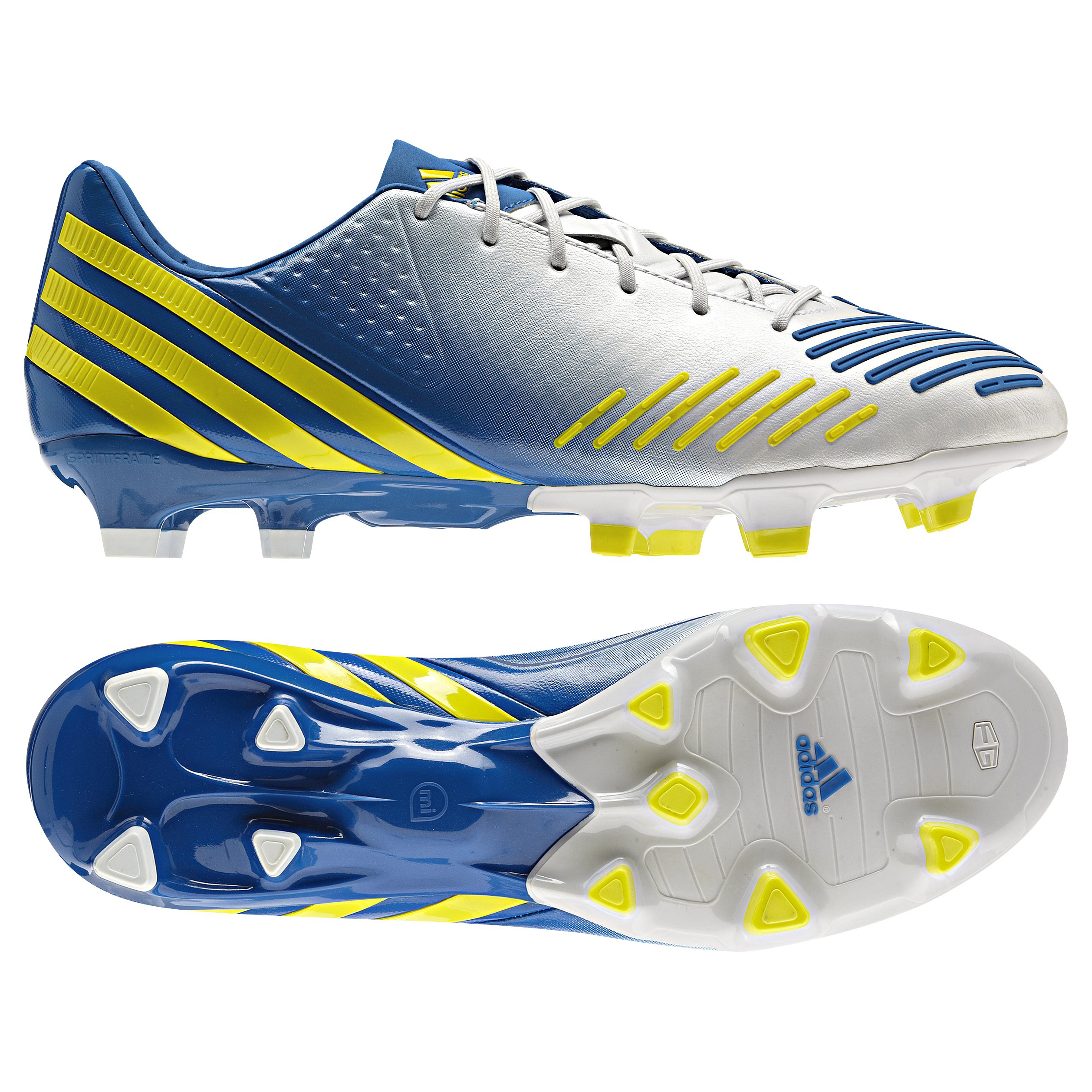 Adidas Predator LZ TRX Firm Ground Football Boots - White/Vivid Yellow/Prime Blue