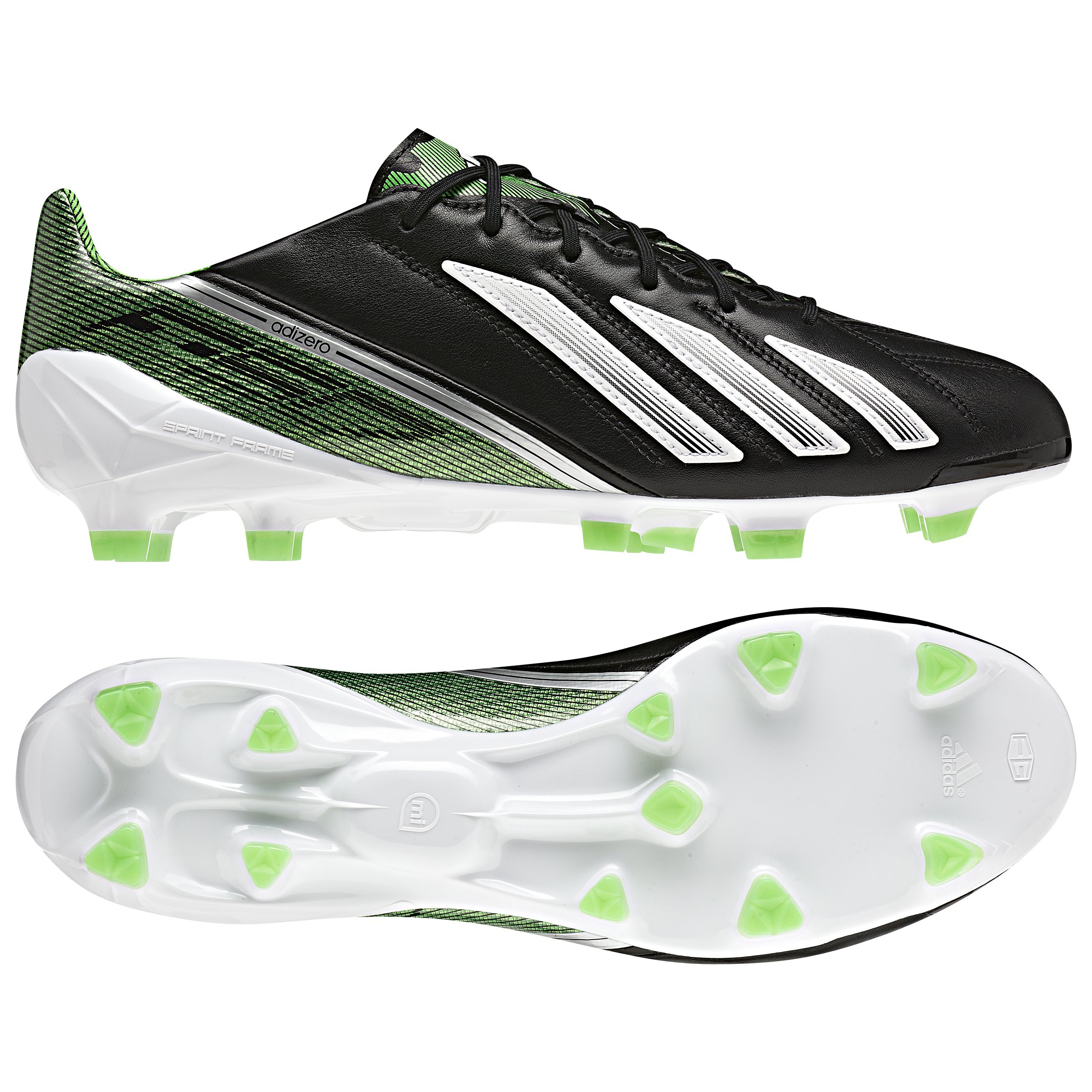Adidas AdiZero F50 TRX Firm Ground Leather Football Boots - Black/White/Green Zest