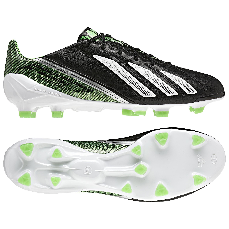 Adidas AdiZero F50 TRX Firm Ground Leather Football Boots - Black/White/Green Zest
