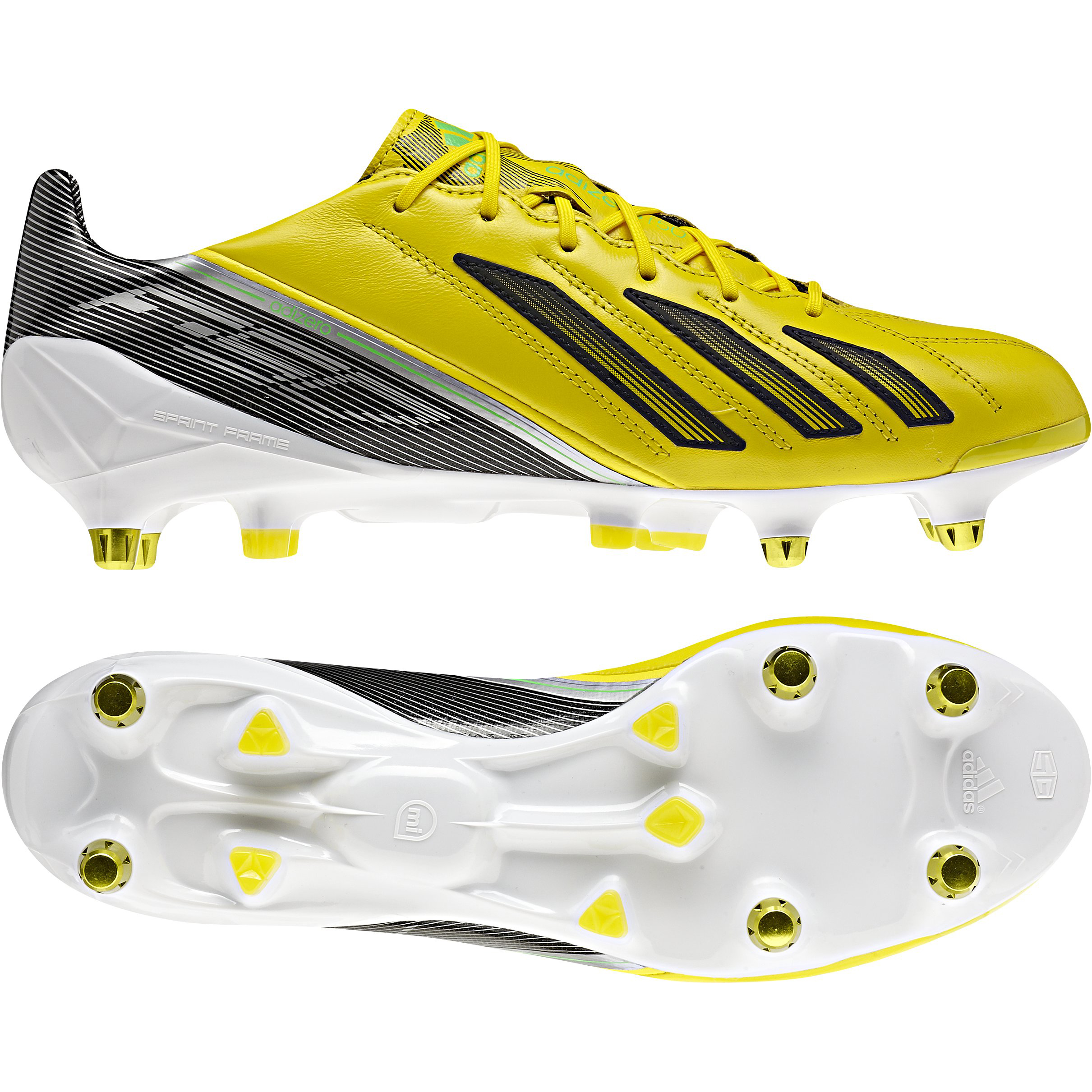 adidas AdiZero F50 XTRX Soft Ground Leather Football Boots - Vivid Yellow/Black/Green Zest