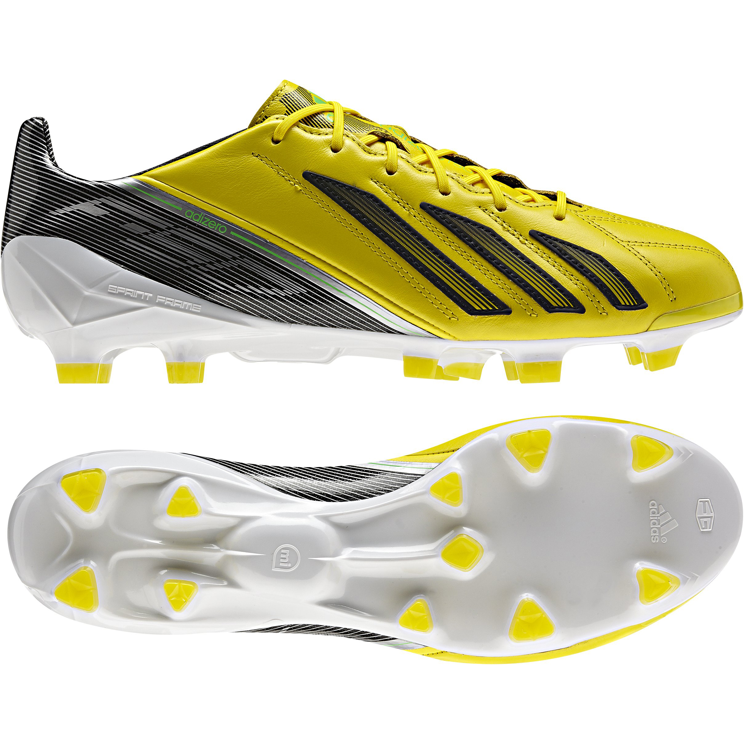 Adidas AdiZero F50 TRX Firm Ground Leather Football Boots - Vivid Yellow/Black/Green Zest
