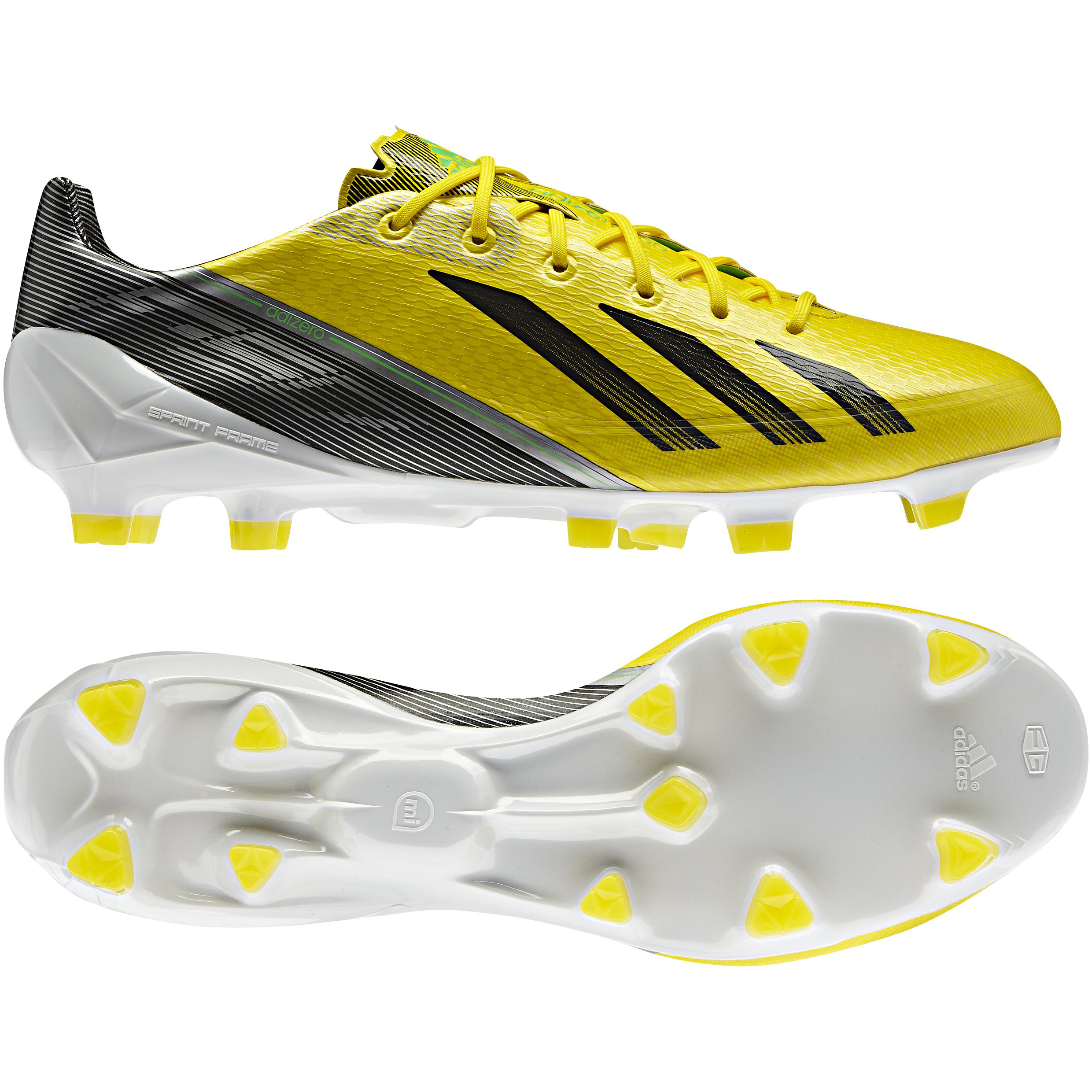 adidas AdiZero F50 TRX Firm Ground Synthetic Football Boots - Vivid Yellow/Black/Green Zest