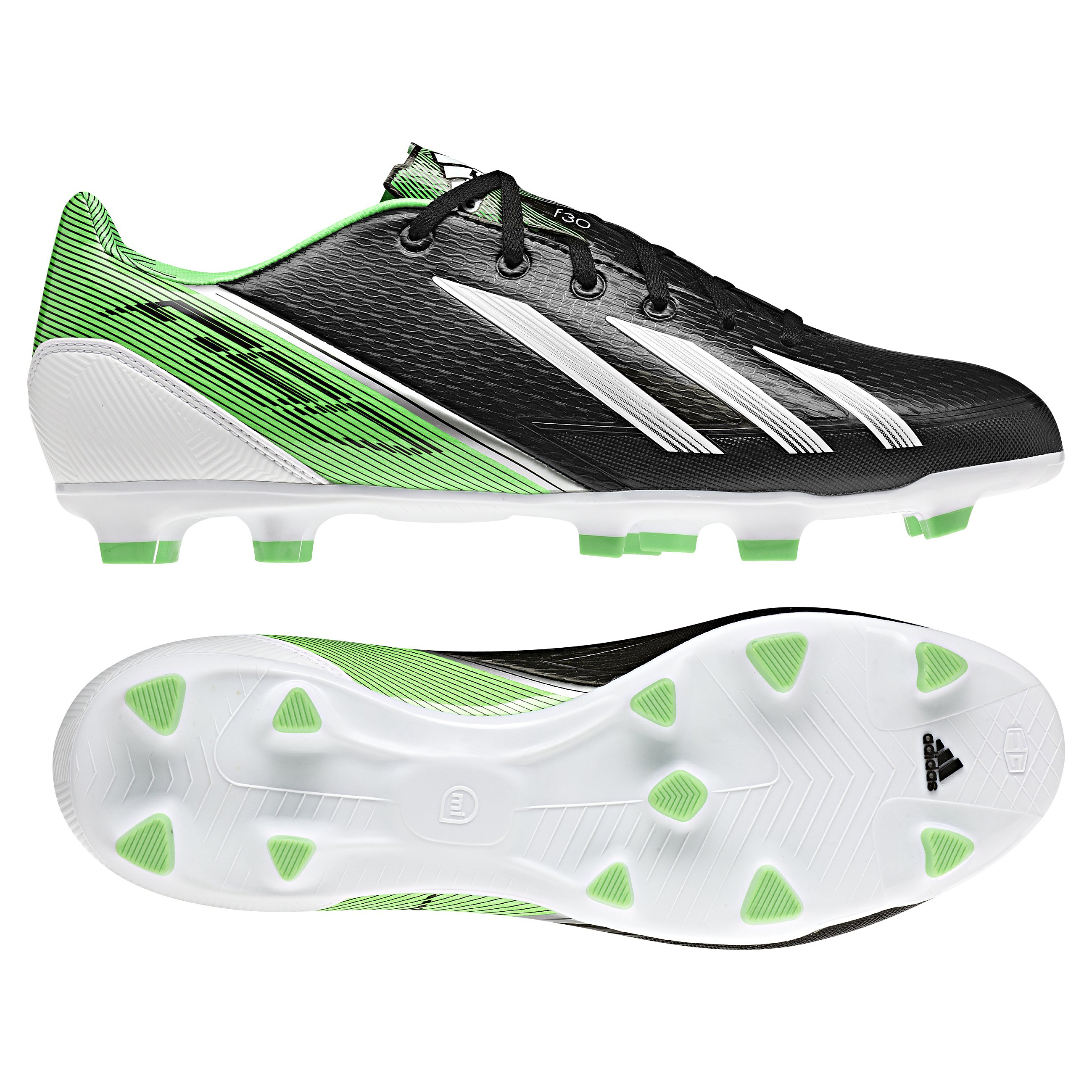 adidas AdiZero F30 TRX Firm Ground Football Boots - Black/Running White/Green Zest