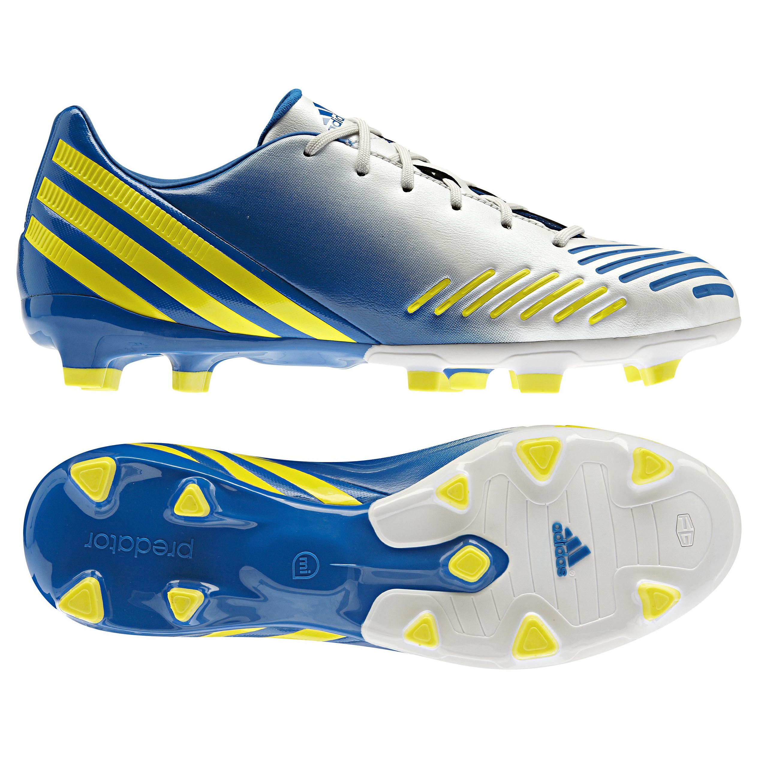 Adidas Predator Absolado LZ TRX Firm Ground Football Boots - White/Vivid Yellow/Prime Blue