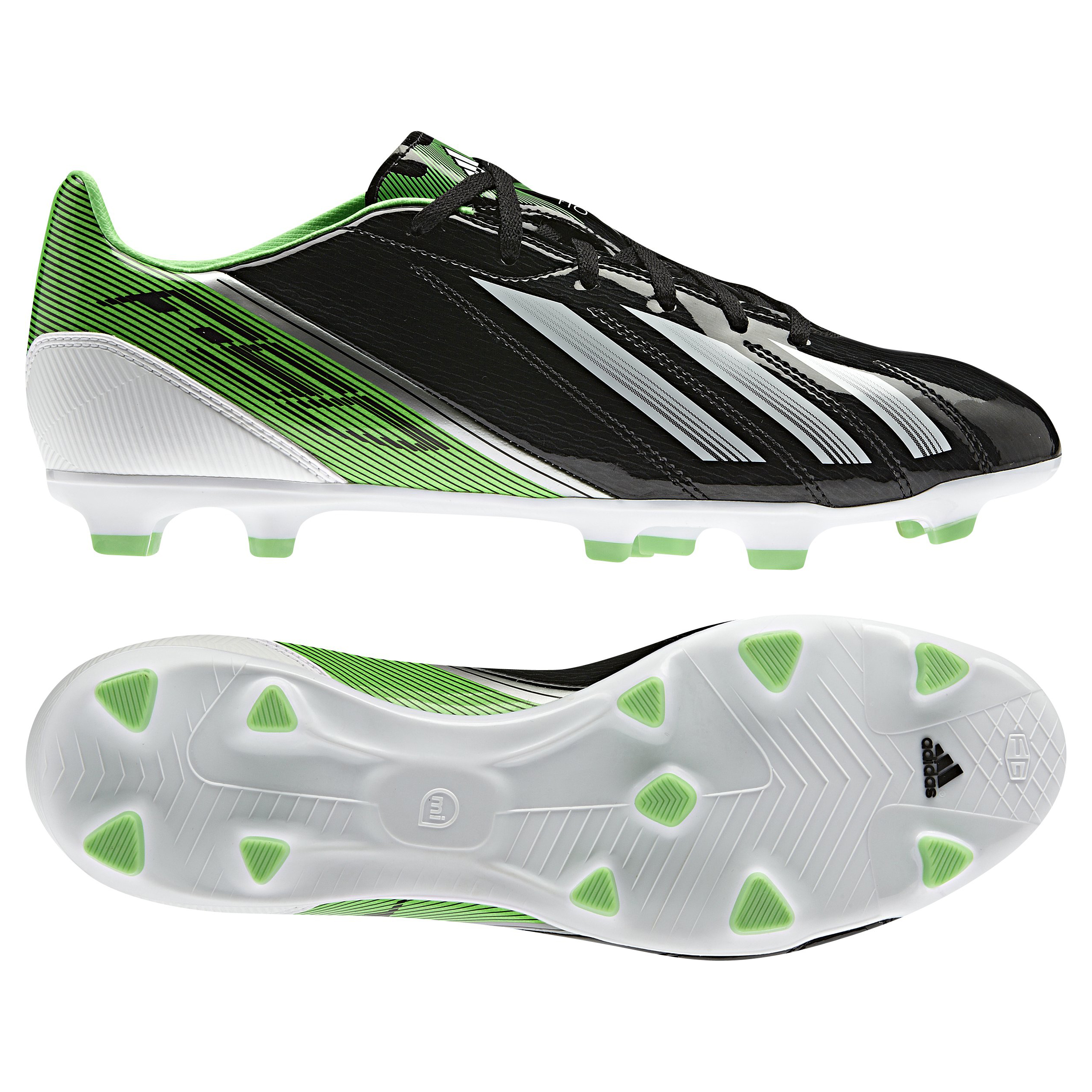 adidas Adizero F10 TRX Firm Ground Football Boots - Black/Running White/Green Zest