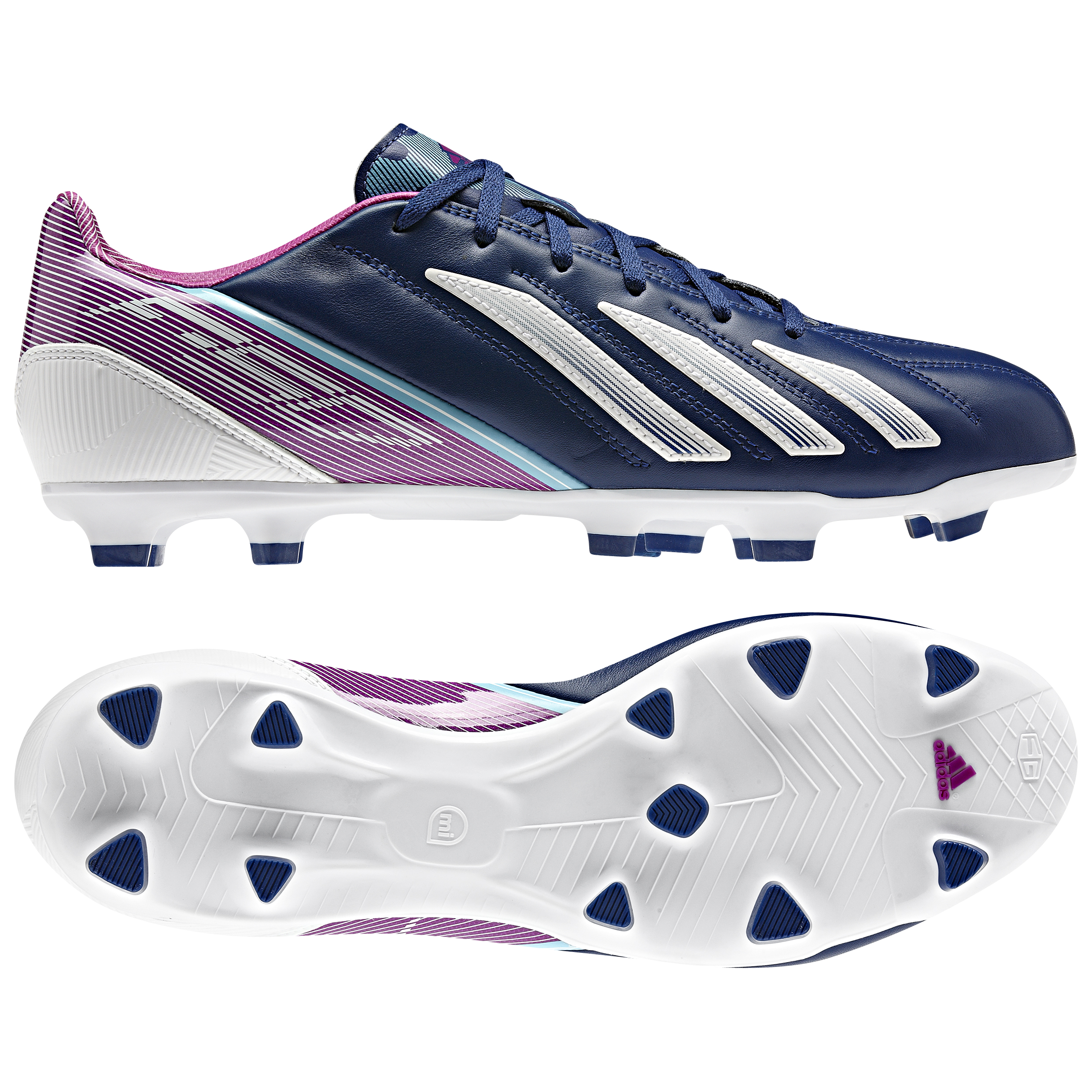 adidas AdiZero F30 TRX Leather Firm Ground Football Boots - Dark Blue/Running White/Vivid Pink