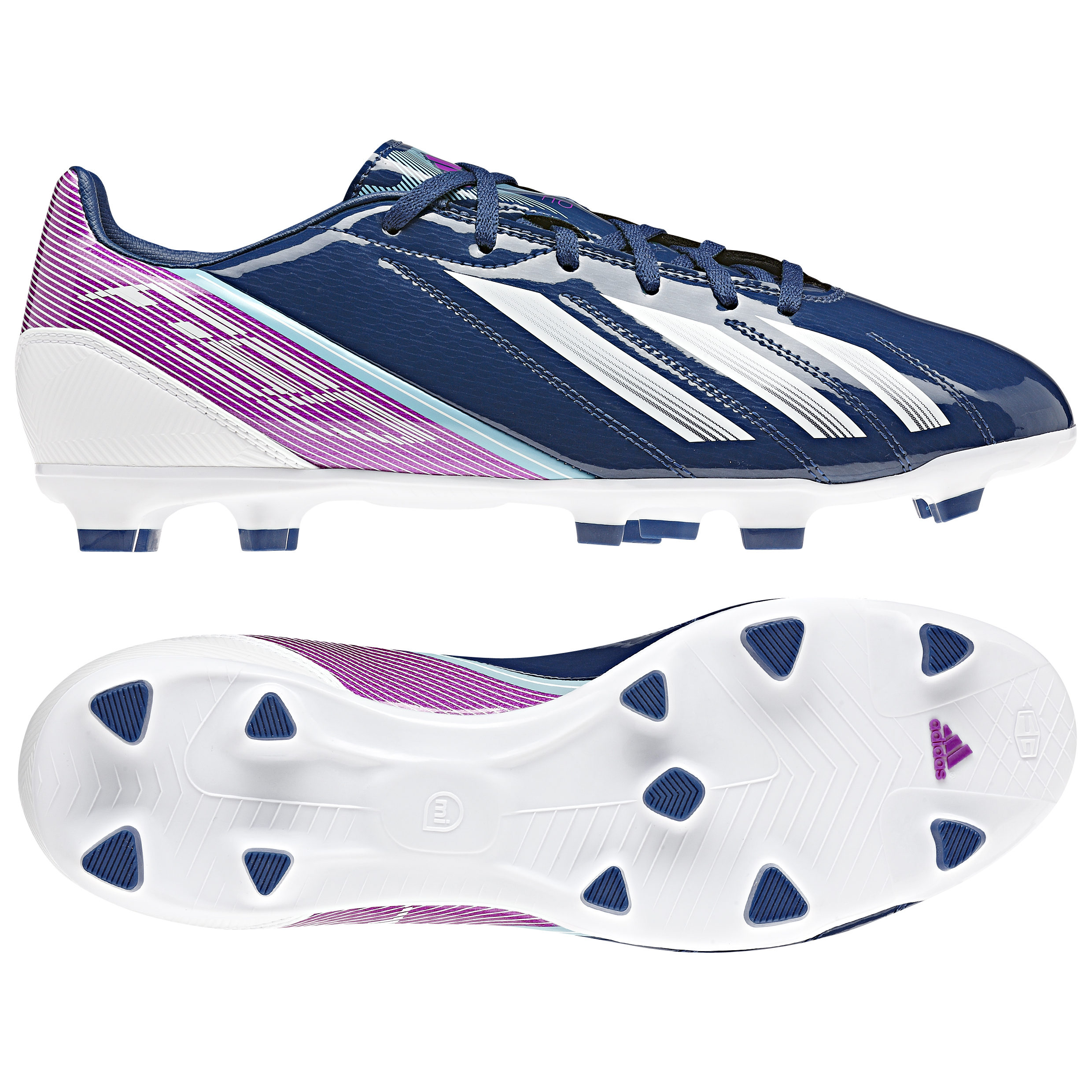 adidas AdiZero F10 TRX Firm Ground Football Boots - Dark Blue/Running White/Vivid Pink