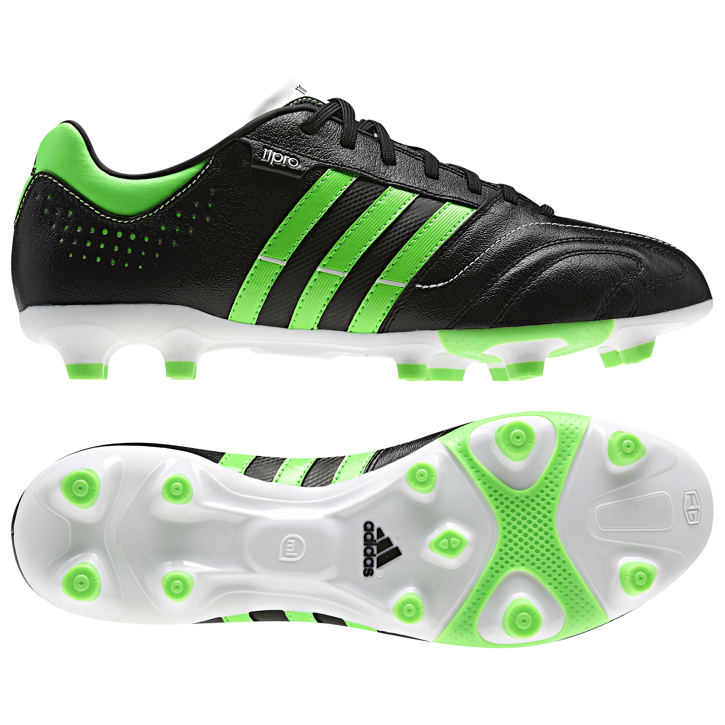 adidas AdiPure 11Nova TRX Firm Ground Football Boots - Black/Green Zest/Running White