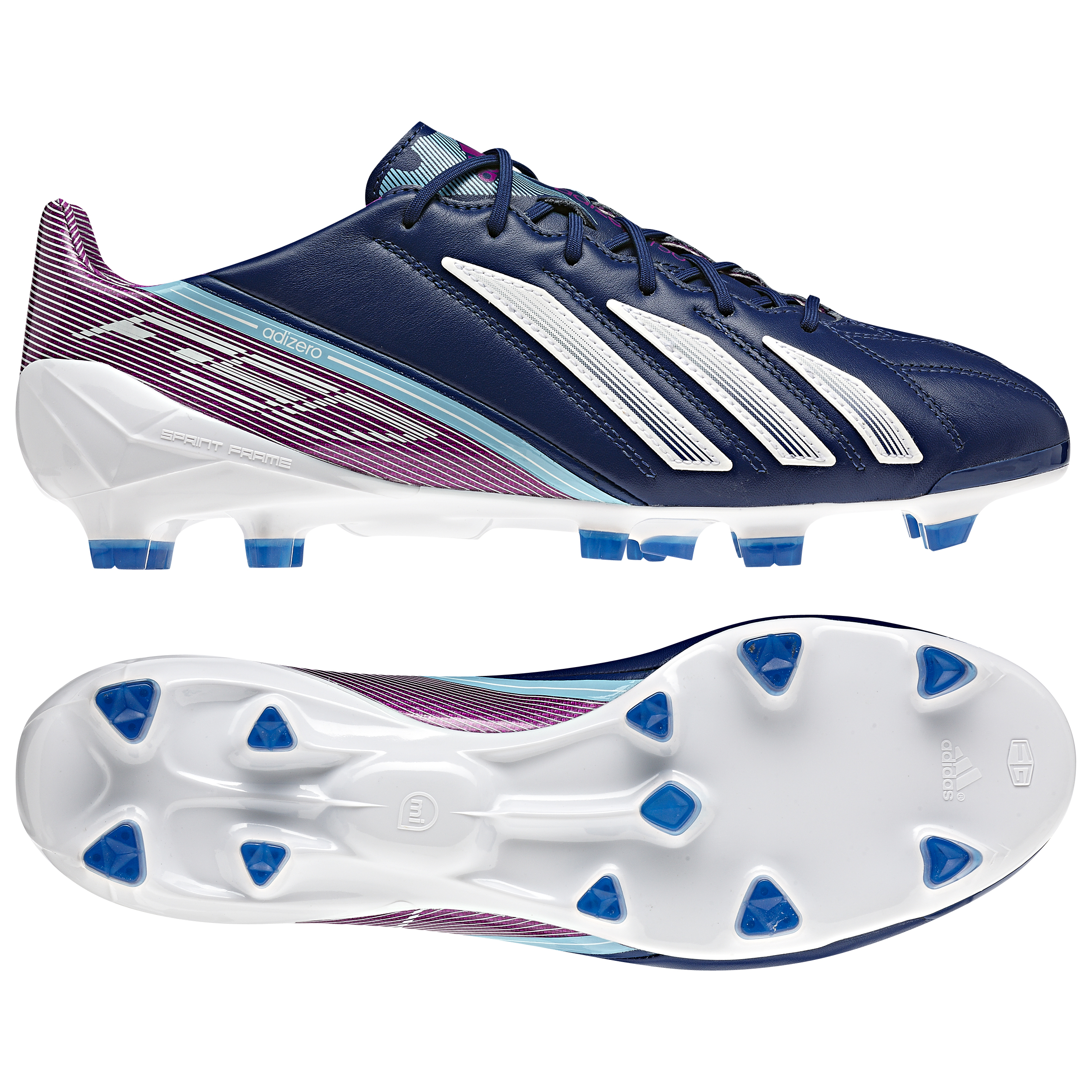 adidas AdiZero F50 TRX Firm Ground Leather Football Boots - Dark Blue/Running White/Vivid Pink