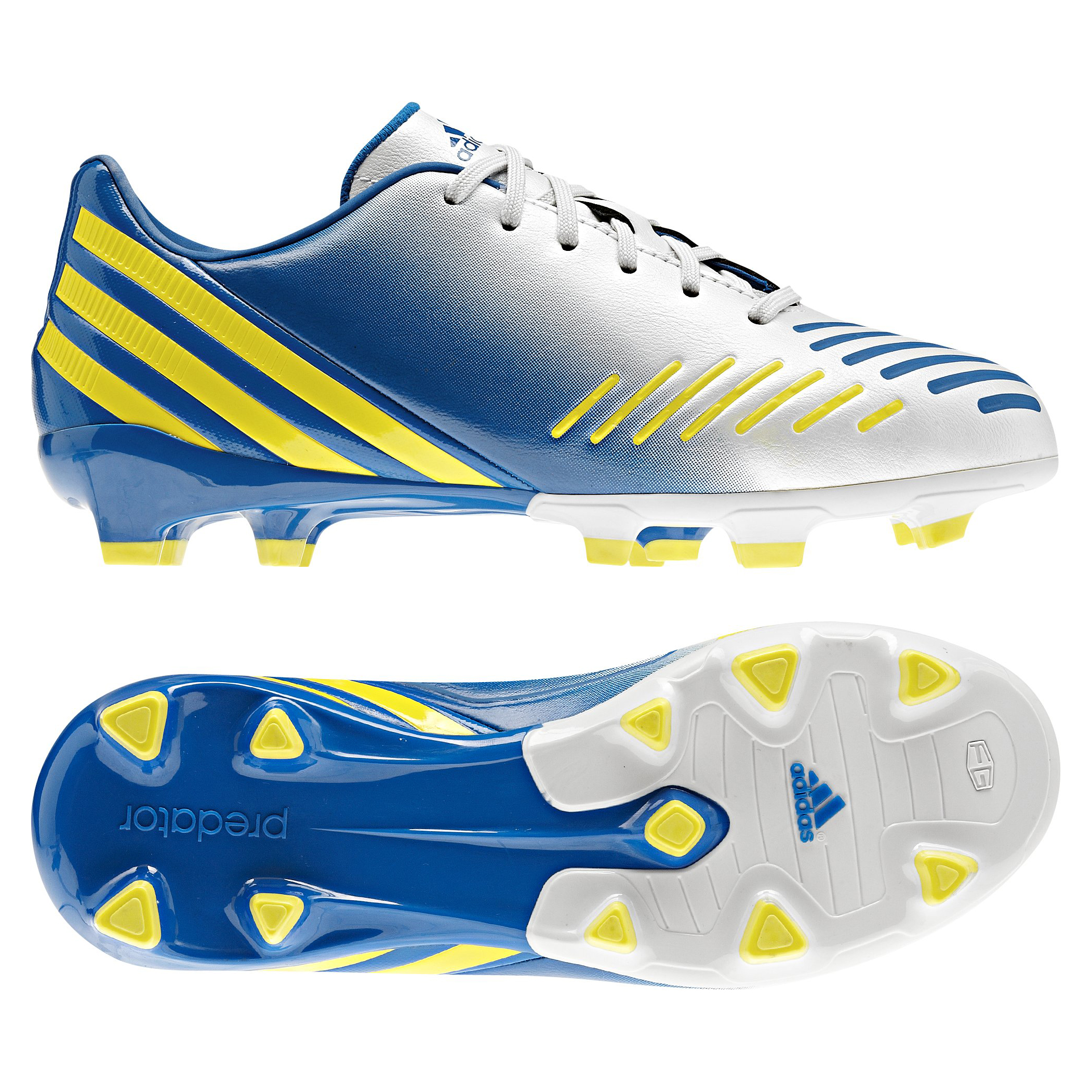 adidas Predator Absolado LZ TRX Firm Ground Football Boots - Running White/Vivid Yellow/Prime Blue - Kids