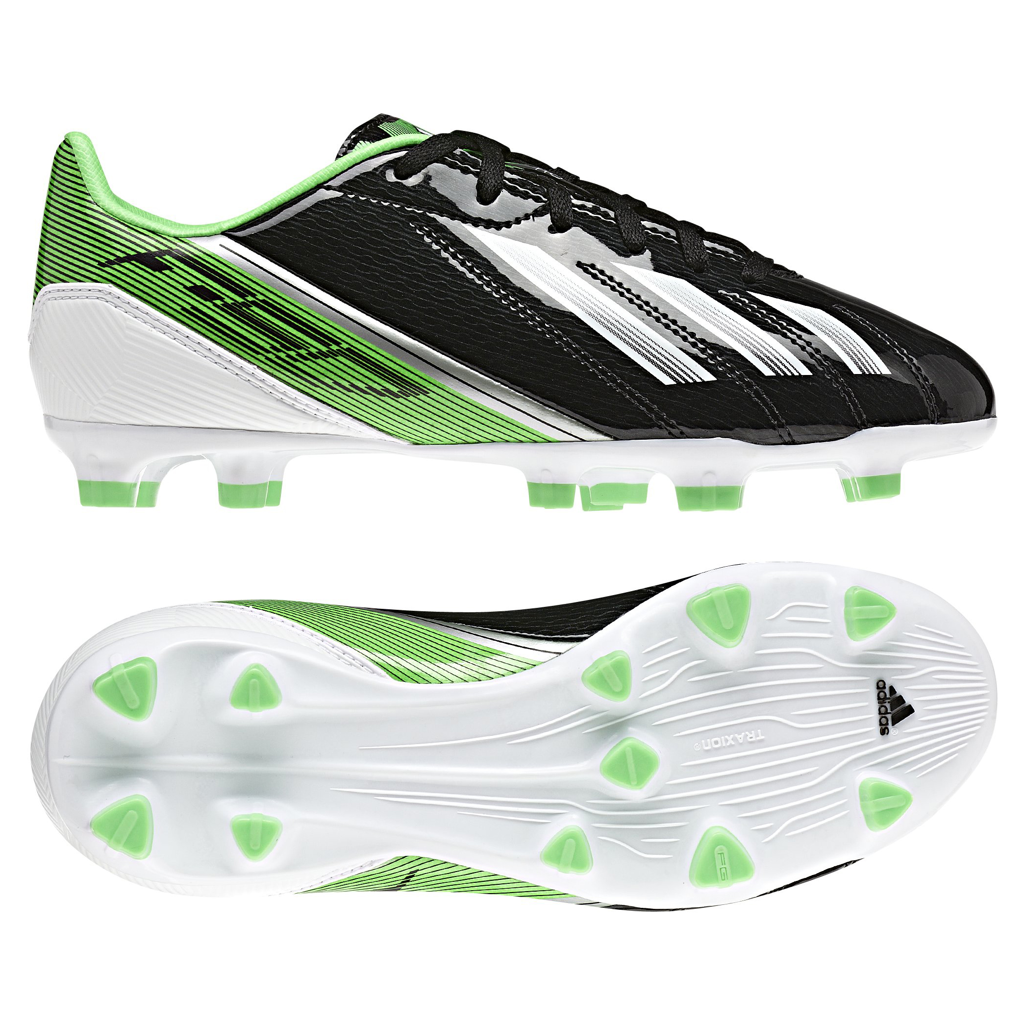 adidas Adizero F10 TRX Firm Ground Football Boots - Black/Running White/Green Zest - Kids