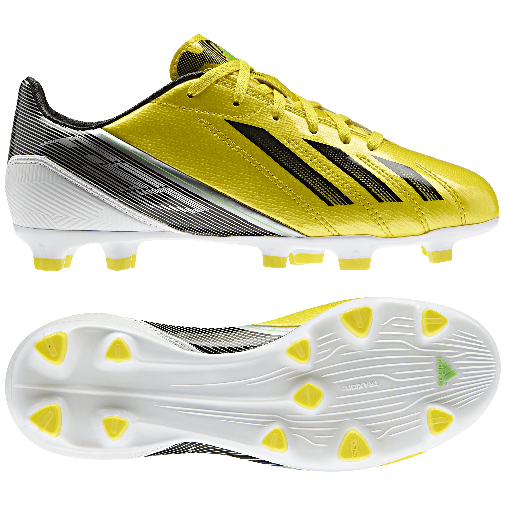 adidas Adizero F10 TRX Firm Ground Football Boots - Vivid Yellow/Black/Green Zest - Kids