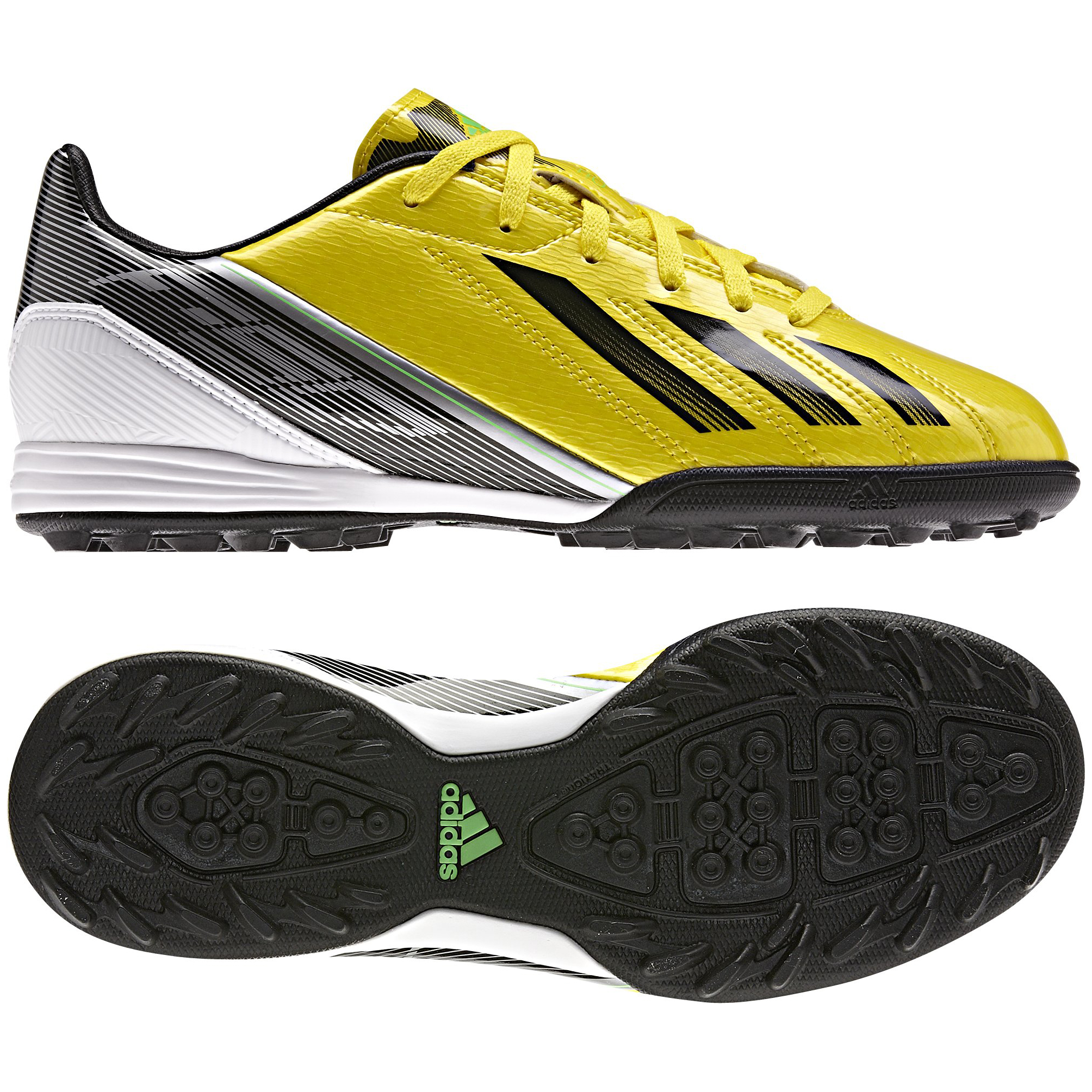 adidas Adizero F10 TRX Astroturf Trainers- Vivid Yellow/Black/Green Zest  - Kids
