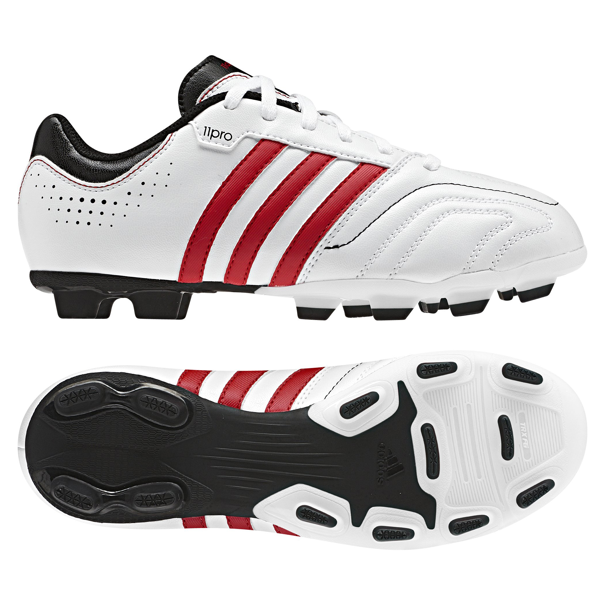 Adidas 11Questra TRX Firm Ground Football Boots - White/Vivid Red/Black - Kids