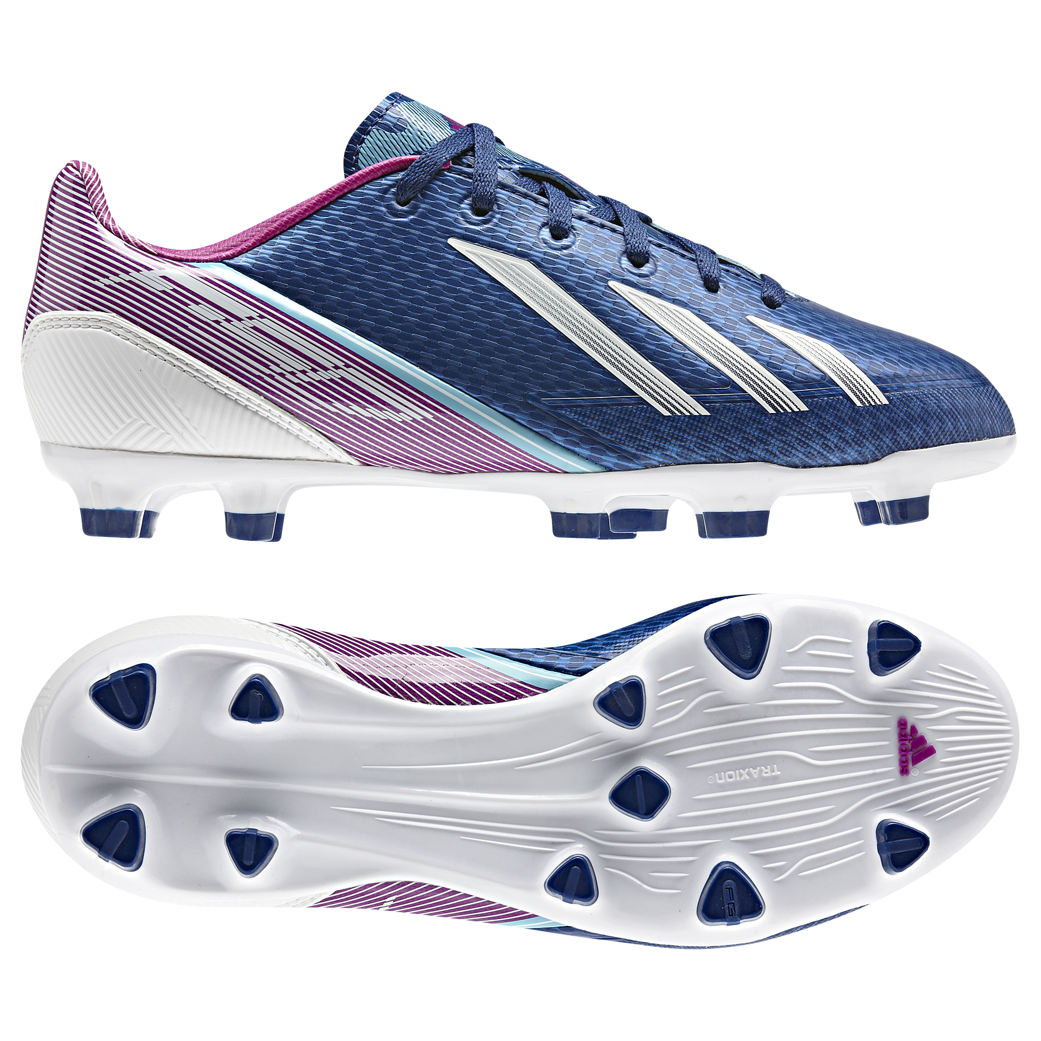 adidas AdiZero F30 TRX Firm Ground Football Boots - Dark Blue/Running White/Vivid Pink - Kids