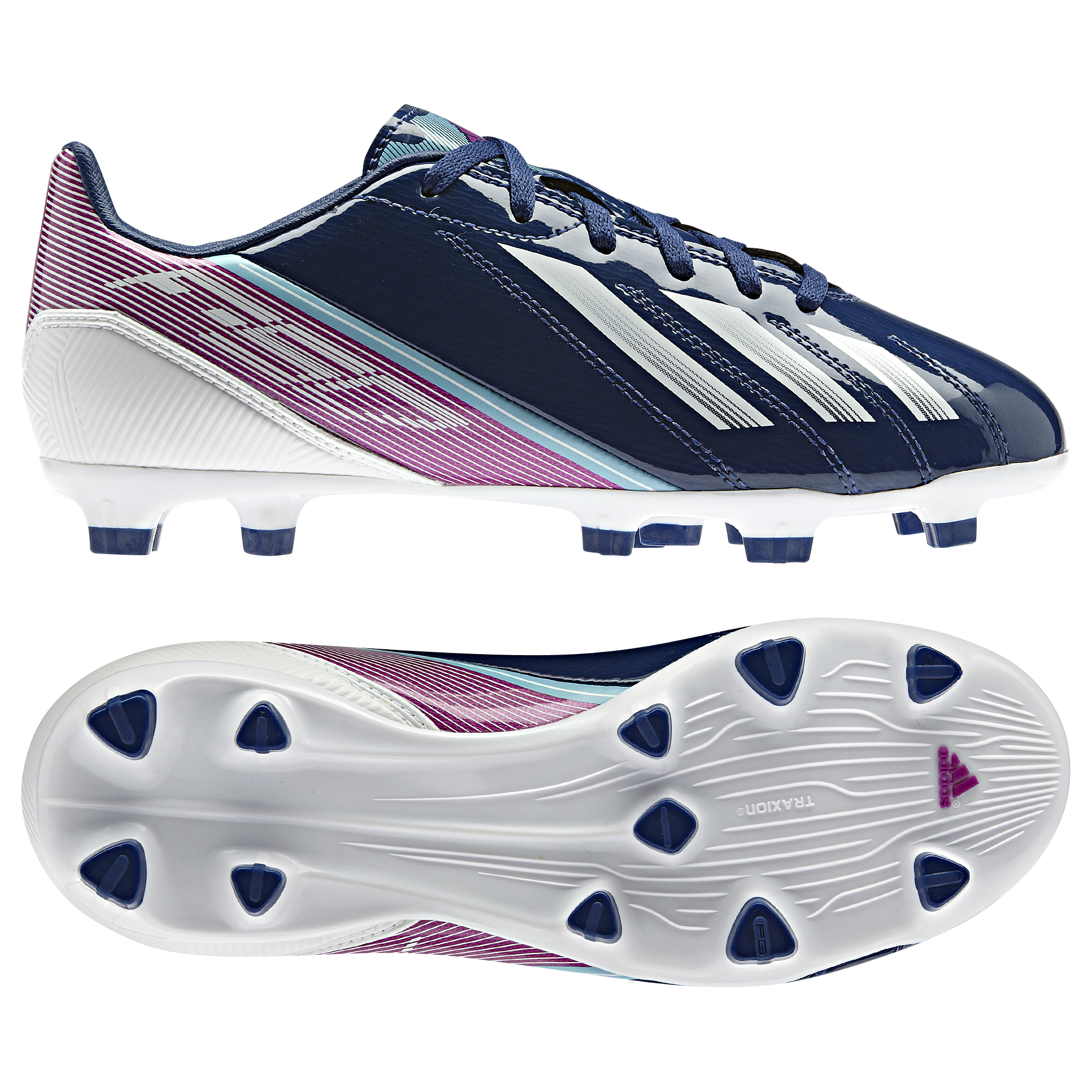 adidas AdiZero F10 TRX Firm Ground Football Boots - Dark Blue/Running White/Vivid Pink - Kids
