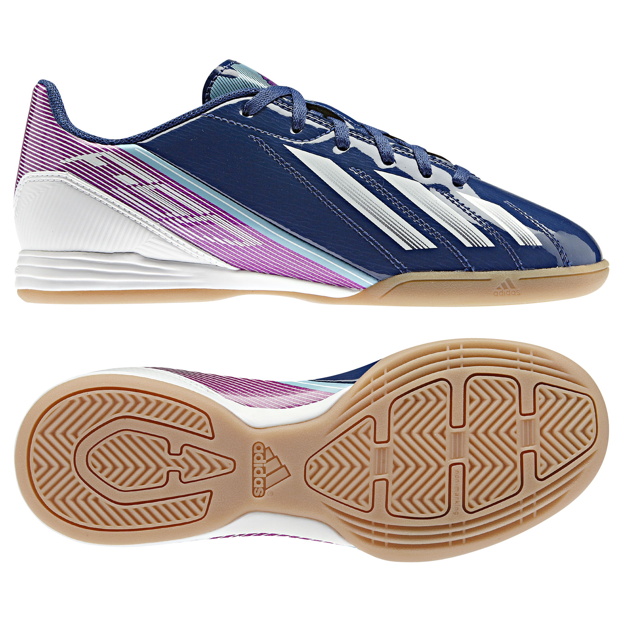 adidas AdiZero F10 Indoor Trainers - Dark Blue/Running White/Vivid Pink - Kids