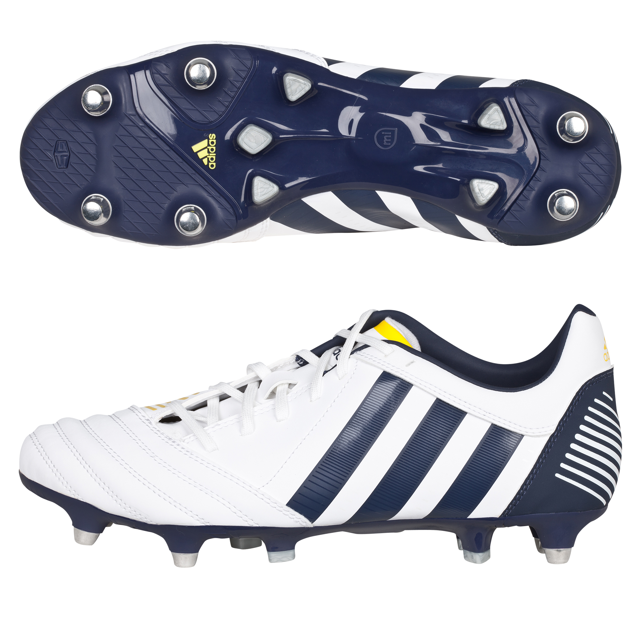 Adidas Absolado Incurza TRX Soft Ground Rugby Boots - White/Urban Sky/Vivid Yellow