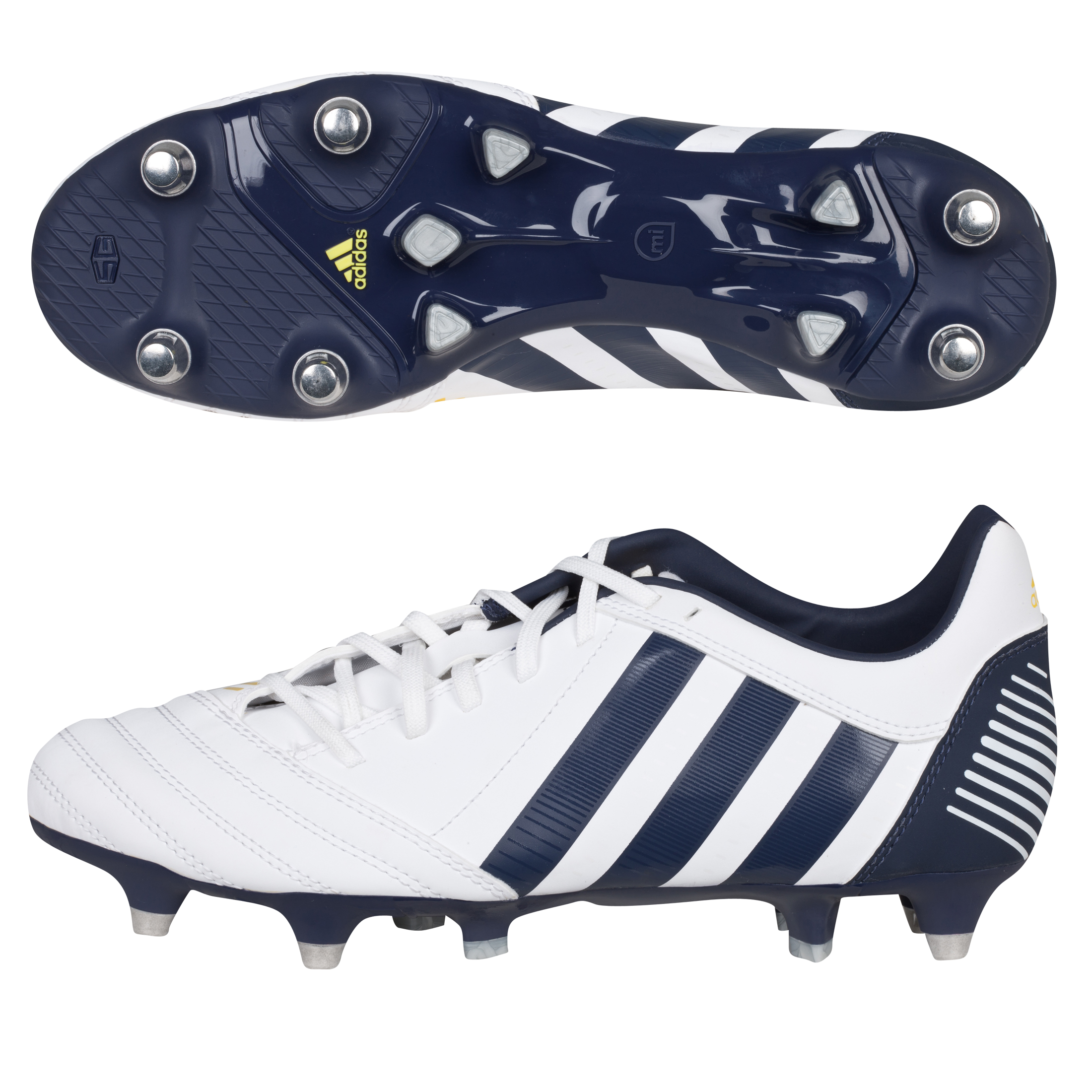 adidas adiPower Kakari Soft Ground Rugby Boots - Running White/Urban Sky/Vivid Yellow