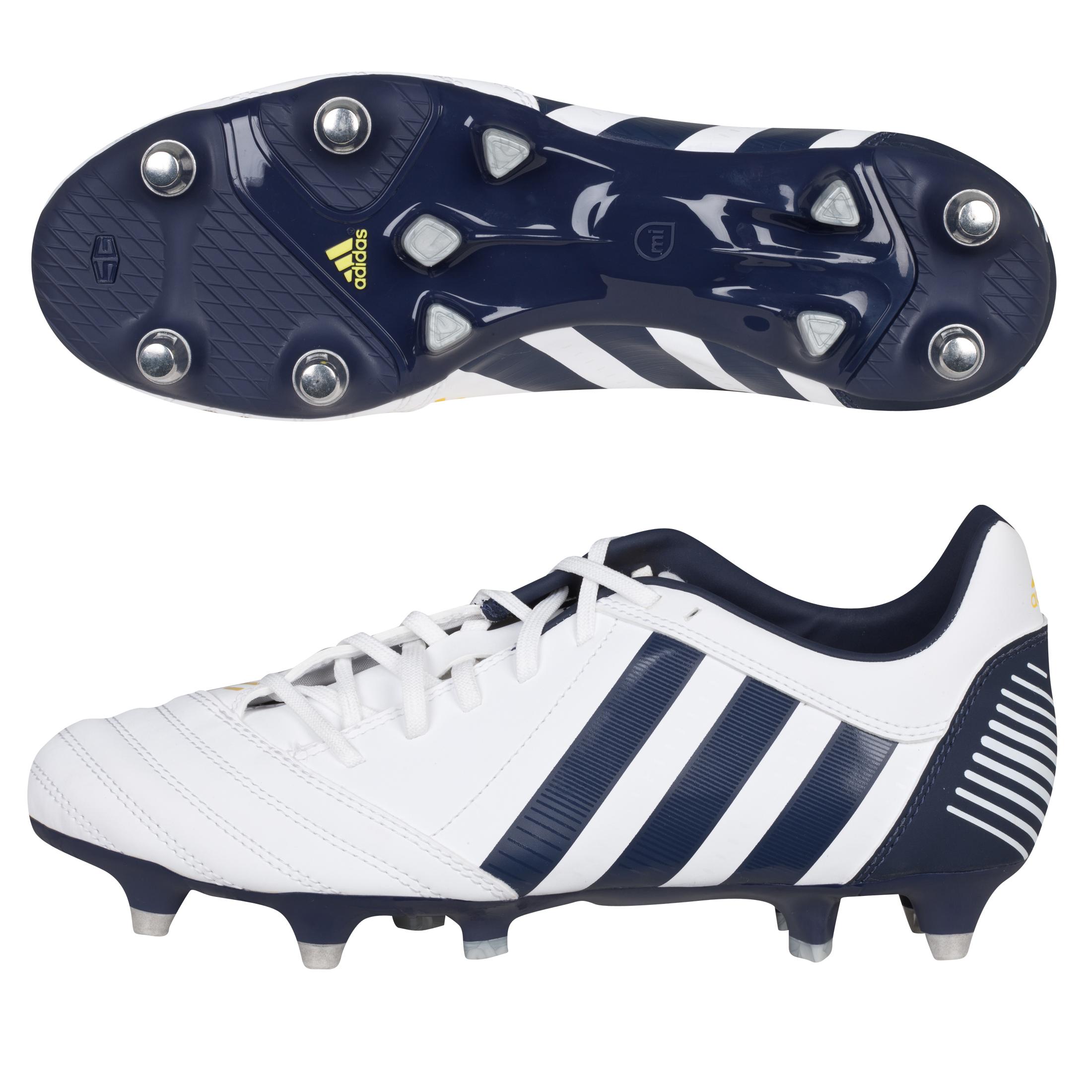 Adidas adiPower Kakari Soft Ground Rugby Boots - White/Urban Sky/Vivid Yellow