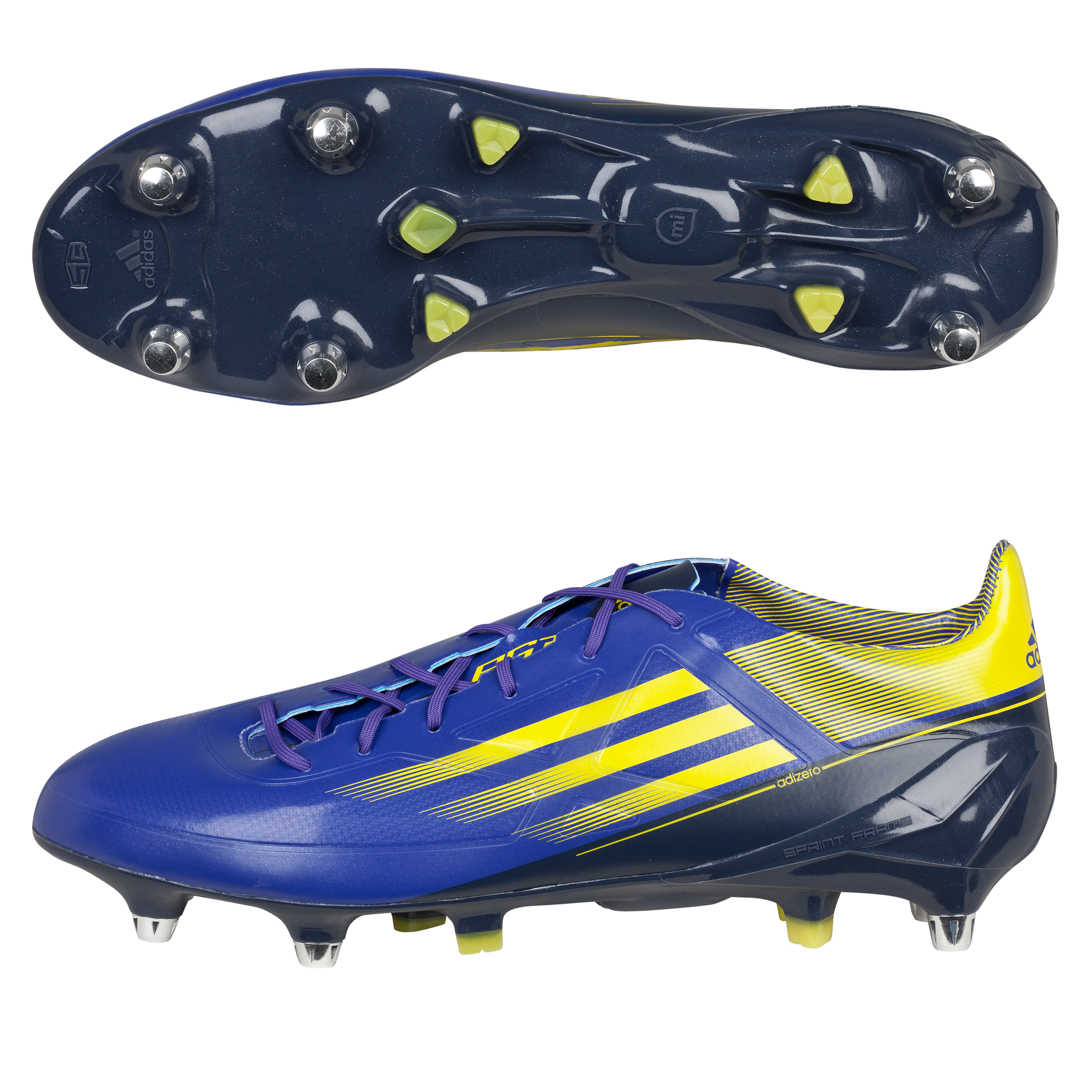 Adidas adiZero RS7 Pro XTRX III Soft Ground Rugby Boots - Blaze Blue Met/Vivid Yellow/Urban Sky