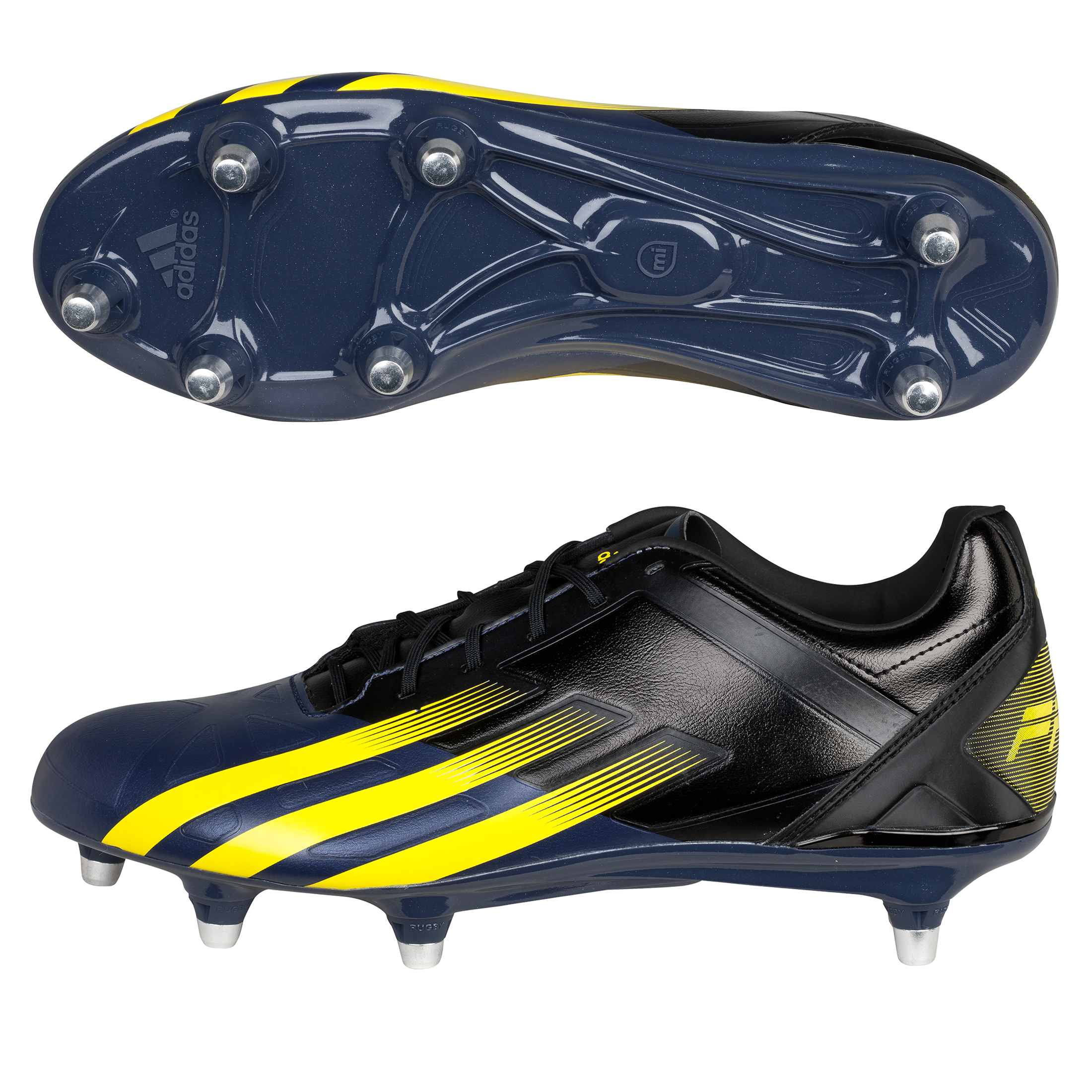 Adidas FF80 Pro XTRX Soft Ground Rugby Boots - Black/Vivid Yellow/Urban Sky