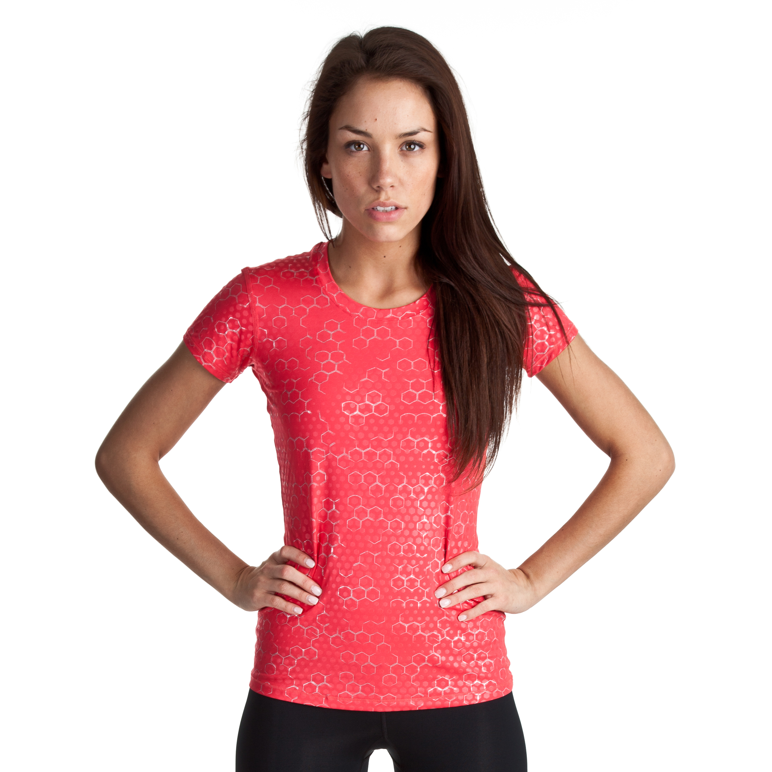 Under Armour Sonic Printed SS - Hibiscus/Graphite - Womens