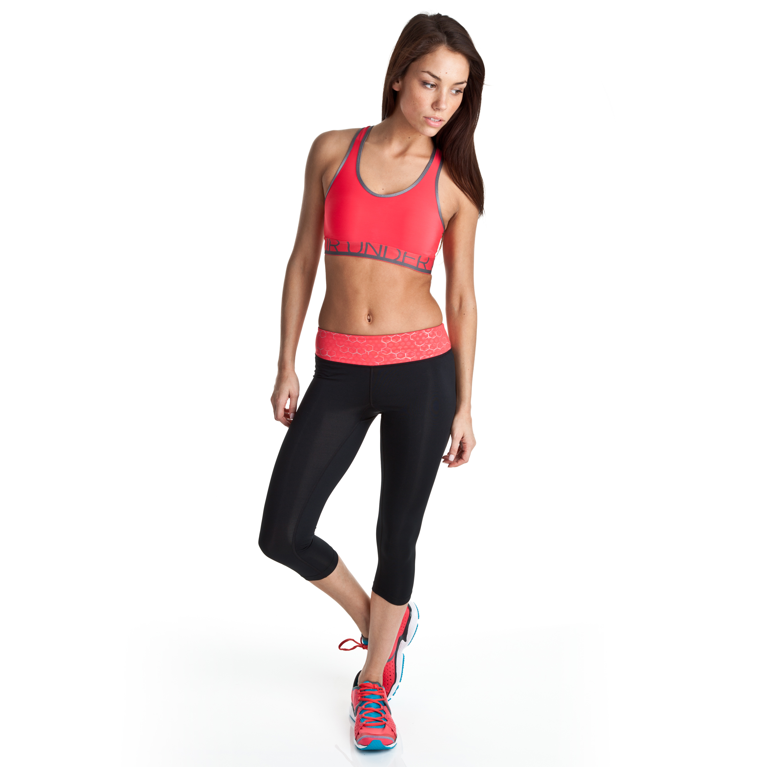 Under Armour Sonic Capri - Black/Hibiscus - Womens