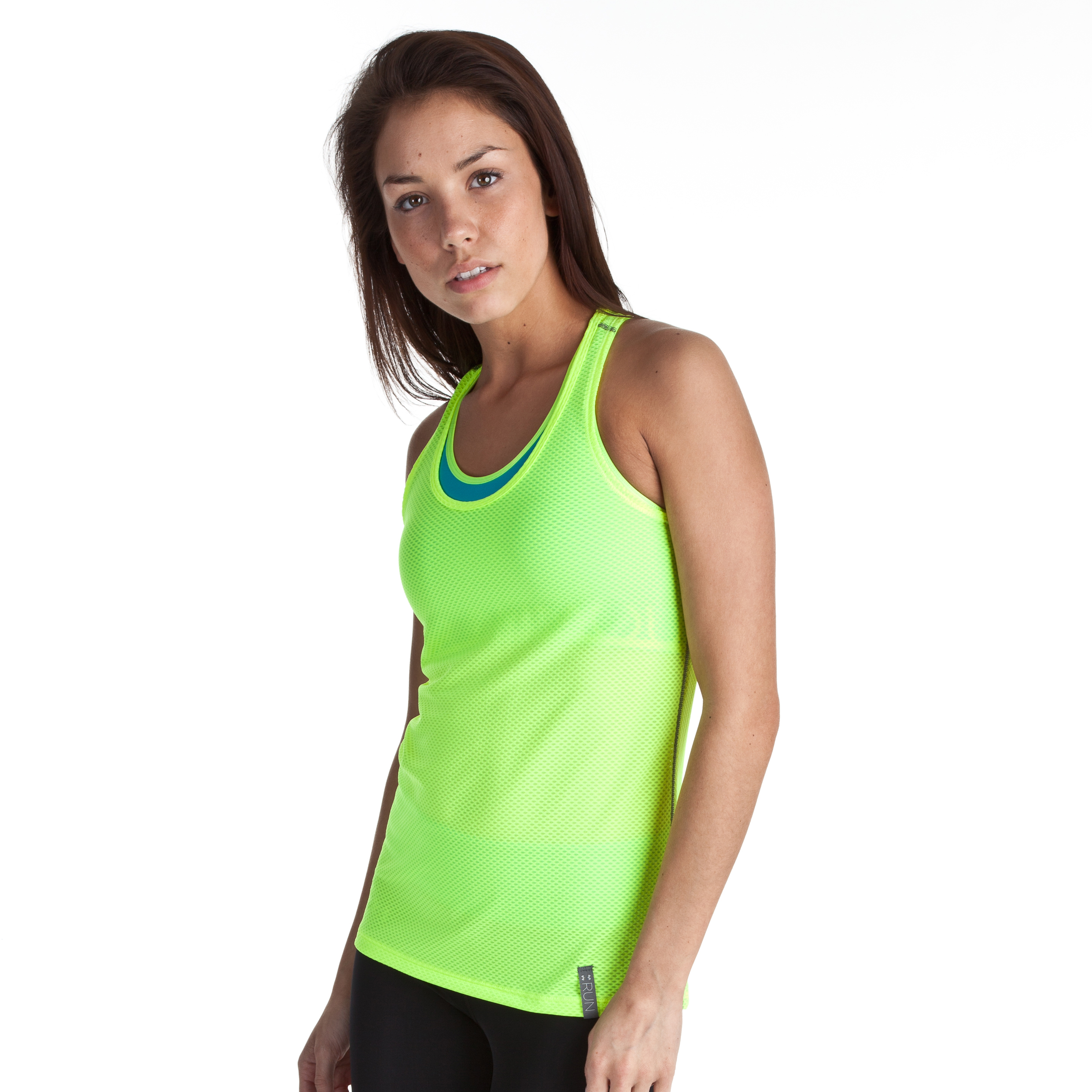 Under Armour Fly-By Stretch Mesh Tank - High Vis Yellow/Reflective - Womens