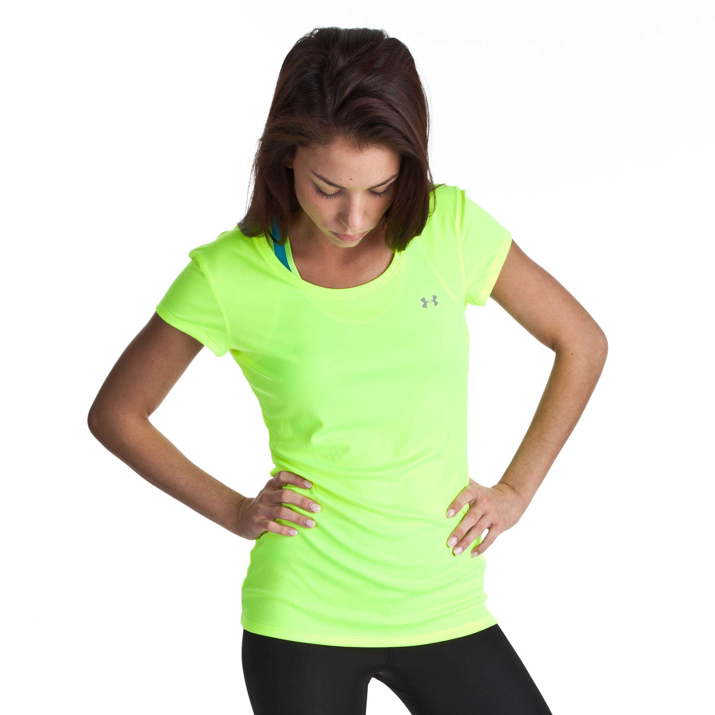 Under Armour Heat gear Flyweight Tee - High Vis Yellow/Reflective - Womens