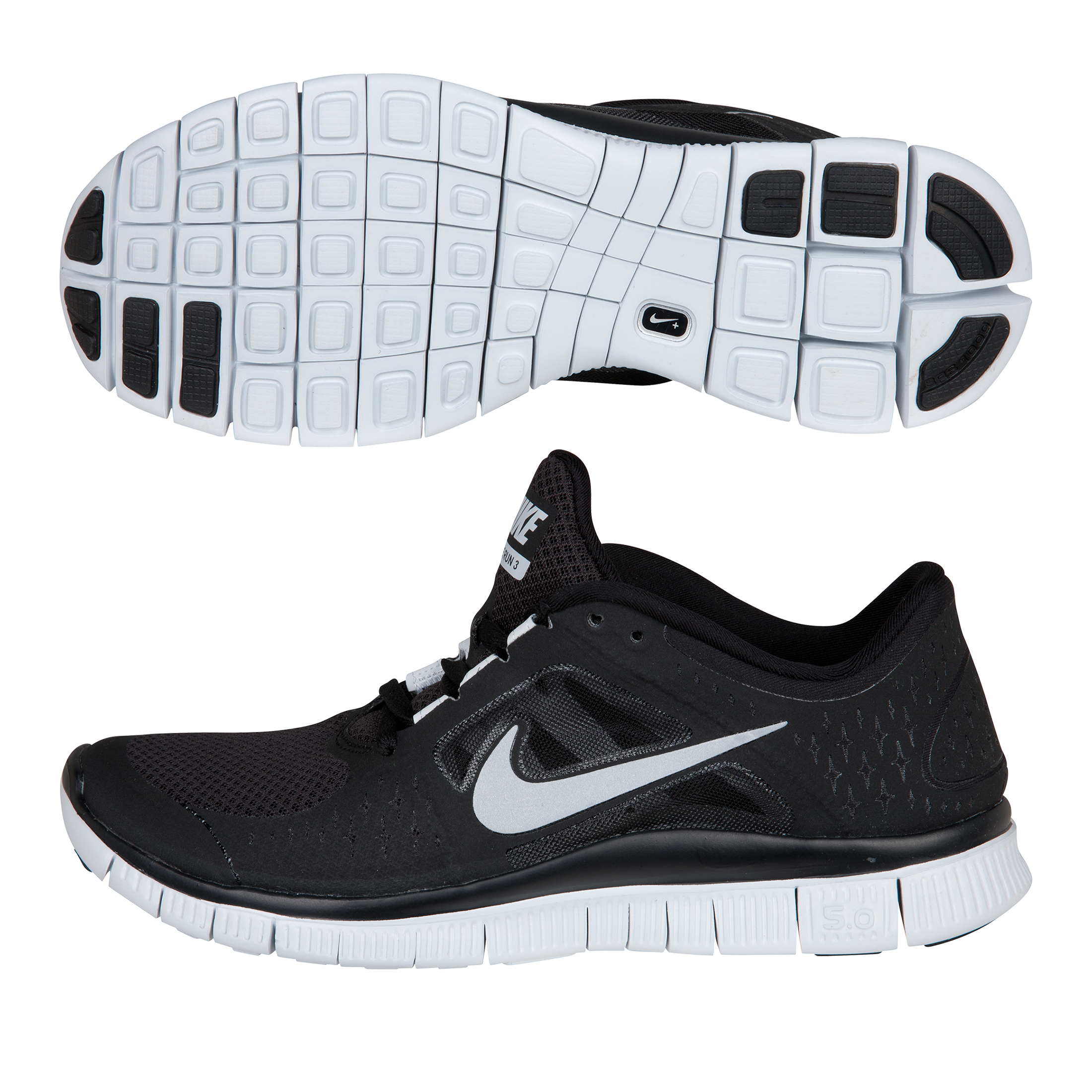 Nike Free Run+ 3 Barefoot Trainer - Black/Silver