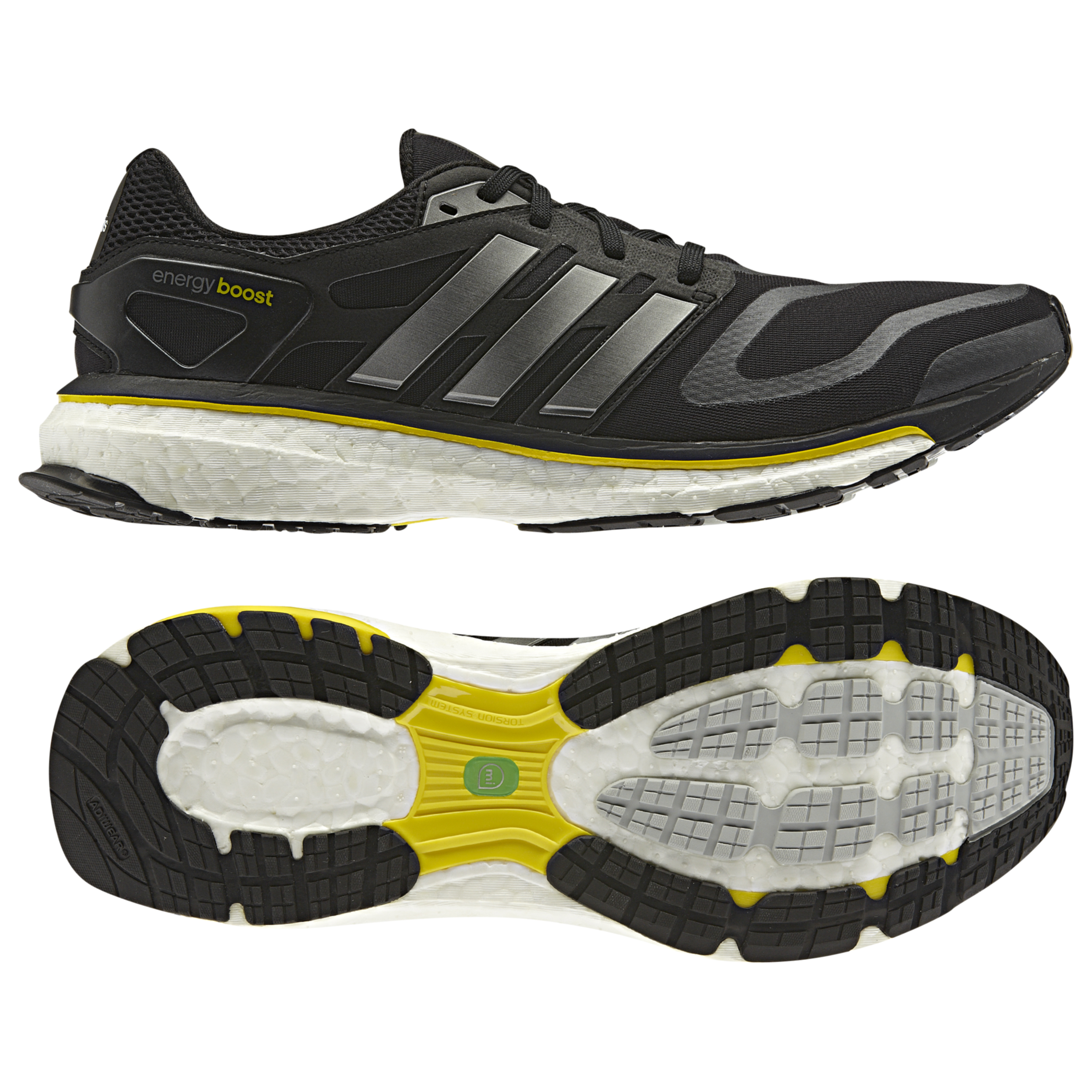 Adidas Energy Boost Running Trainers - Black/Neo Iron/Vivid Yellow