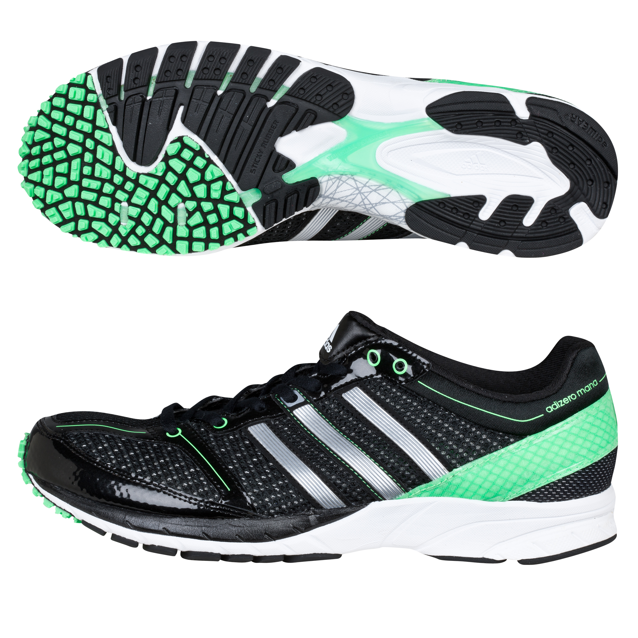 Adidas Adizero Mana 7 Trainers - Black/Metallic Silver/Black