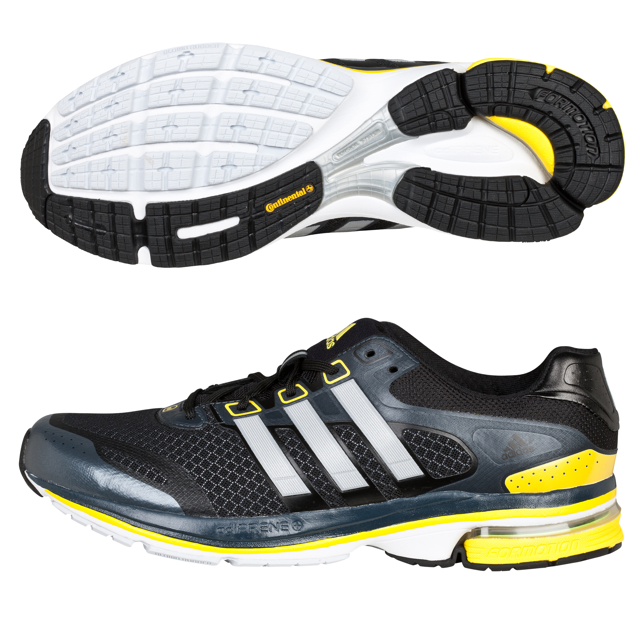 Adidas Supernova Glide 5 Trainers - Black/Metallic Silver/Vivid Yellow