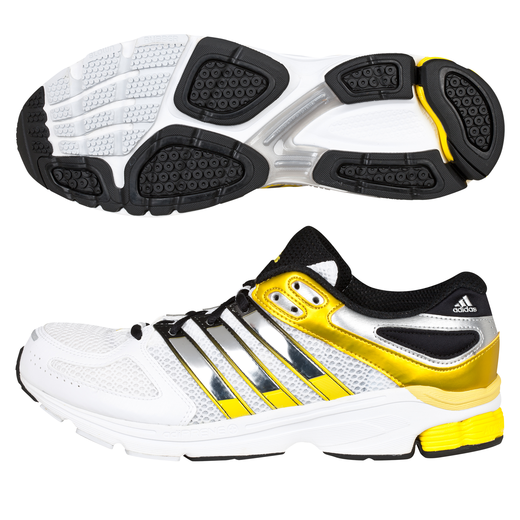 Adidas Questar Stability Trainers - White/Metallic Silver/Vivid Yellow