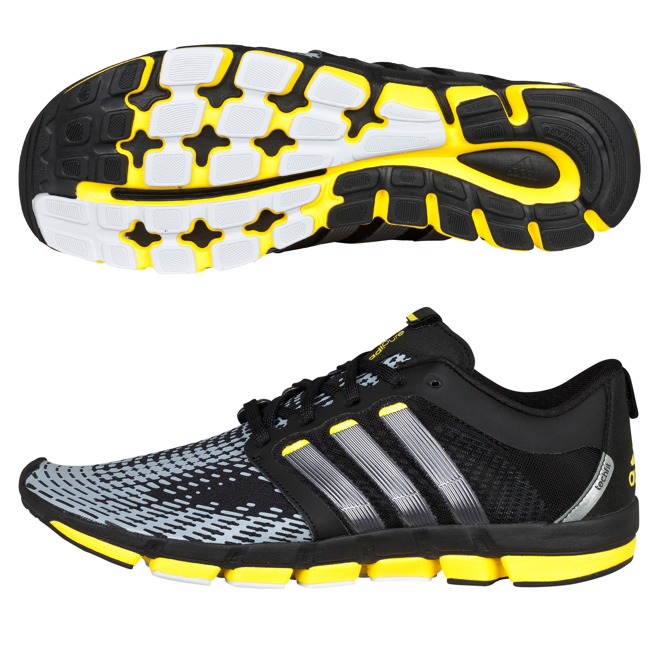 Adidas Adipure Motion Trainers - Black/Neo Iron/Vivid Yellow