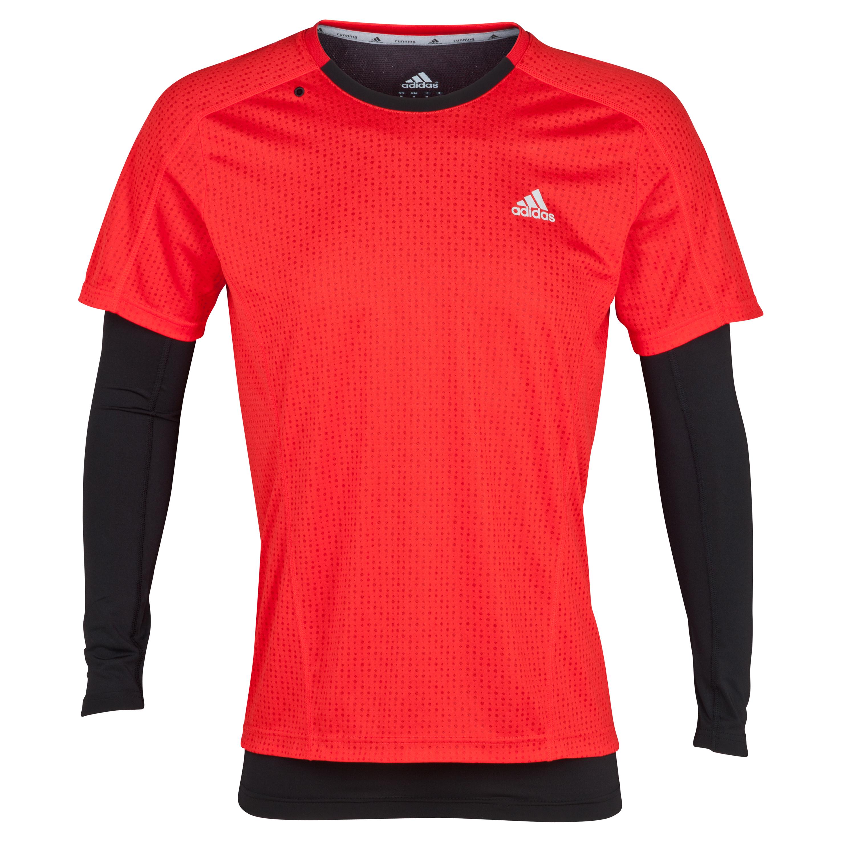 Adidas Supernova 2in1 T-Shirt - Long Sleeve - Vivid Red/Black