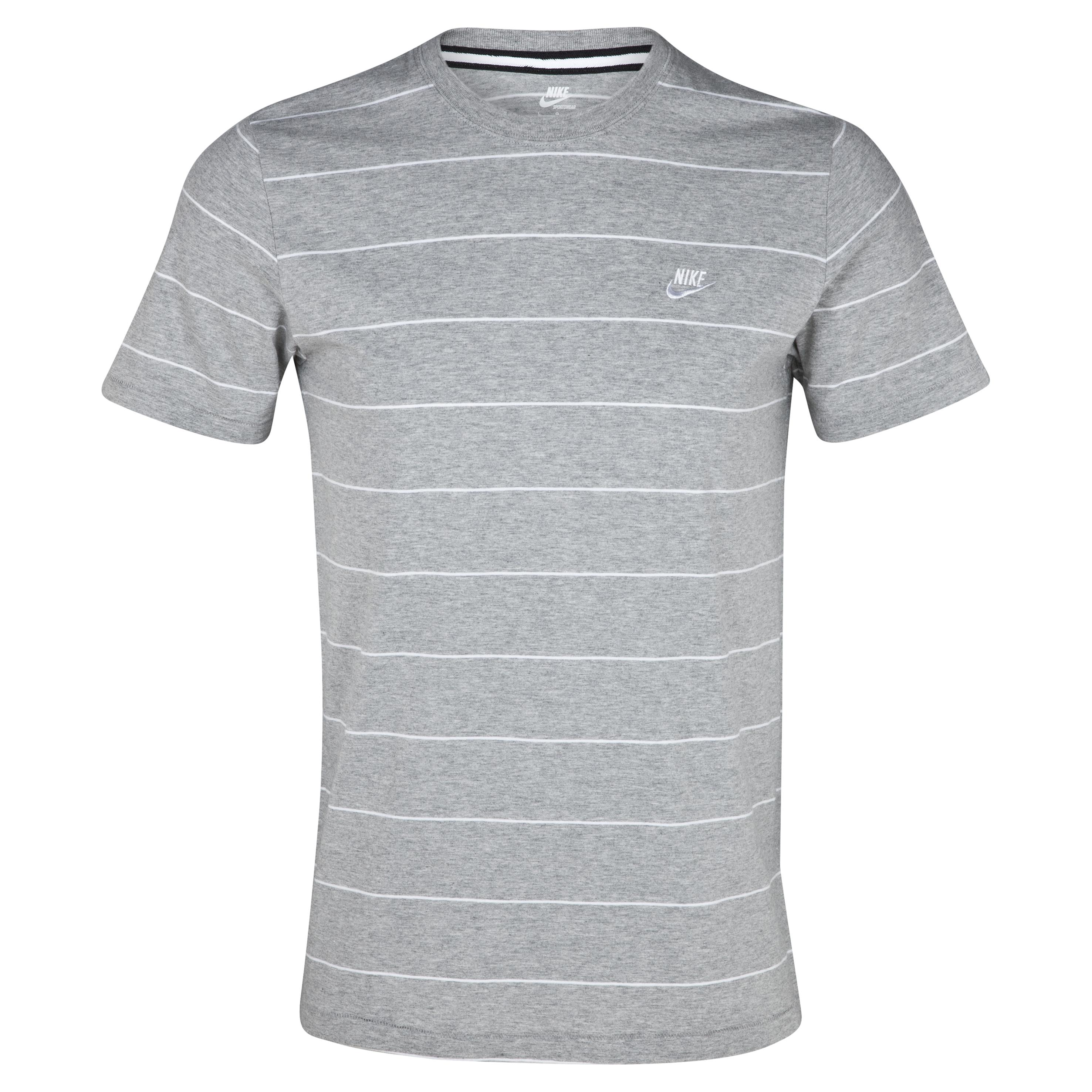 Nike YD Striped Futura Tee - Dark Grey Heather/White