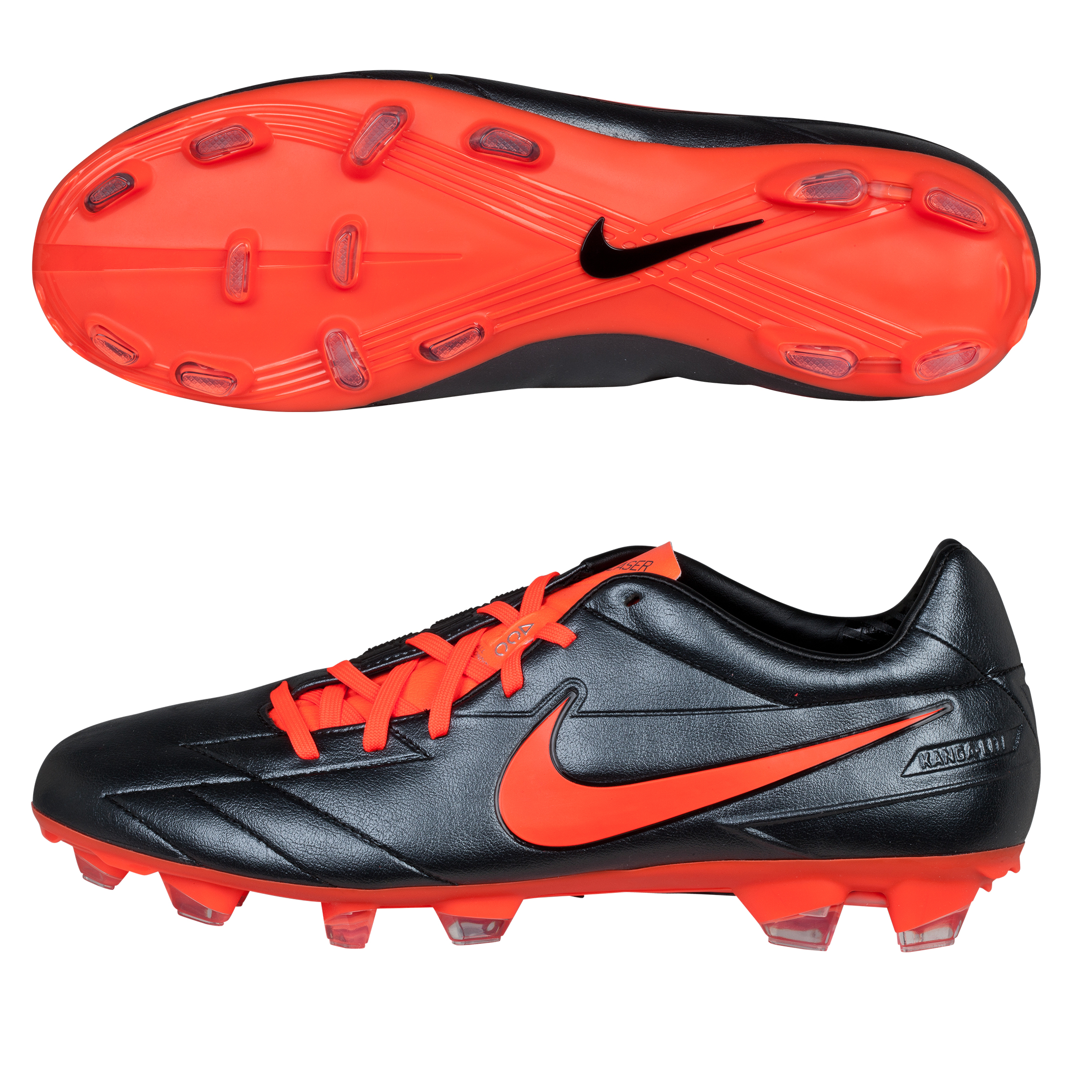 Nike Total90 Laser IV KL-Firm Ground Football Boots - Black/Total Crimson/Black