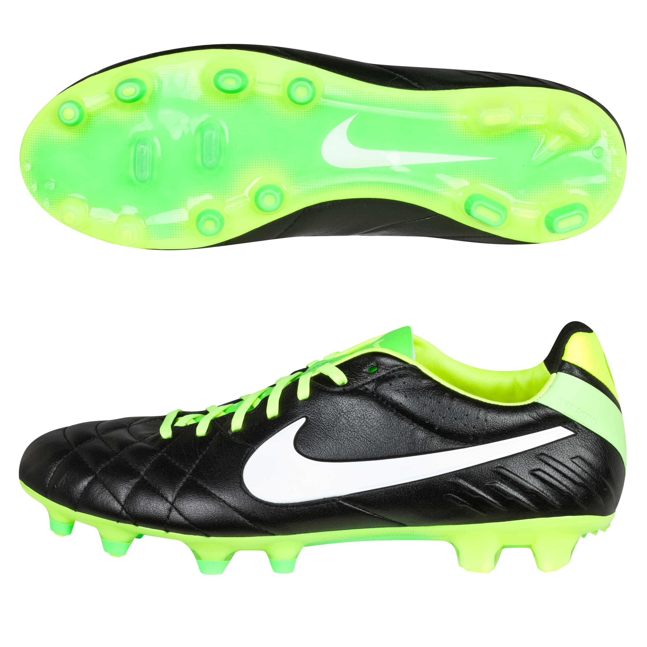 Nike Tiempo Legend IV Firm Ground Football Boots - Black/White/Electric Green